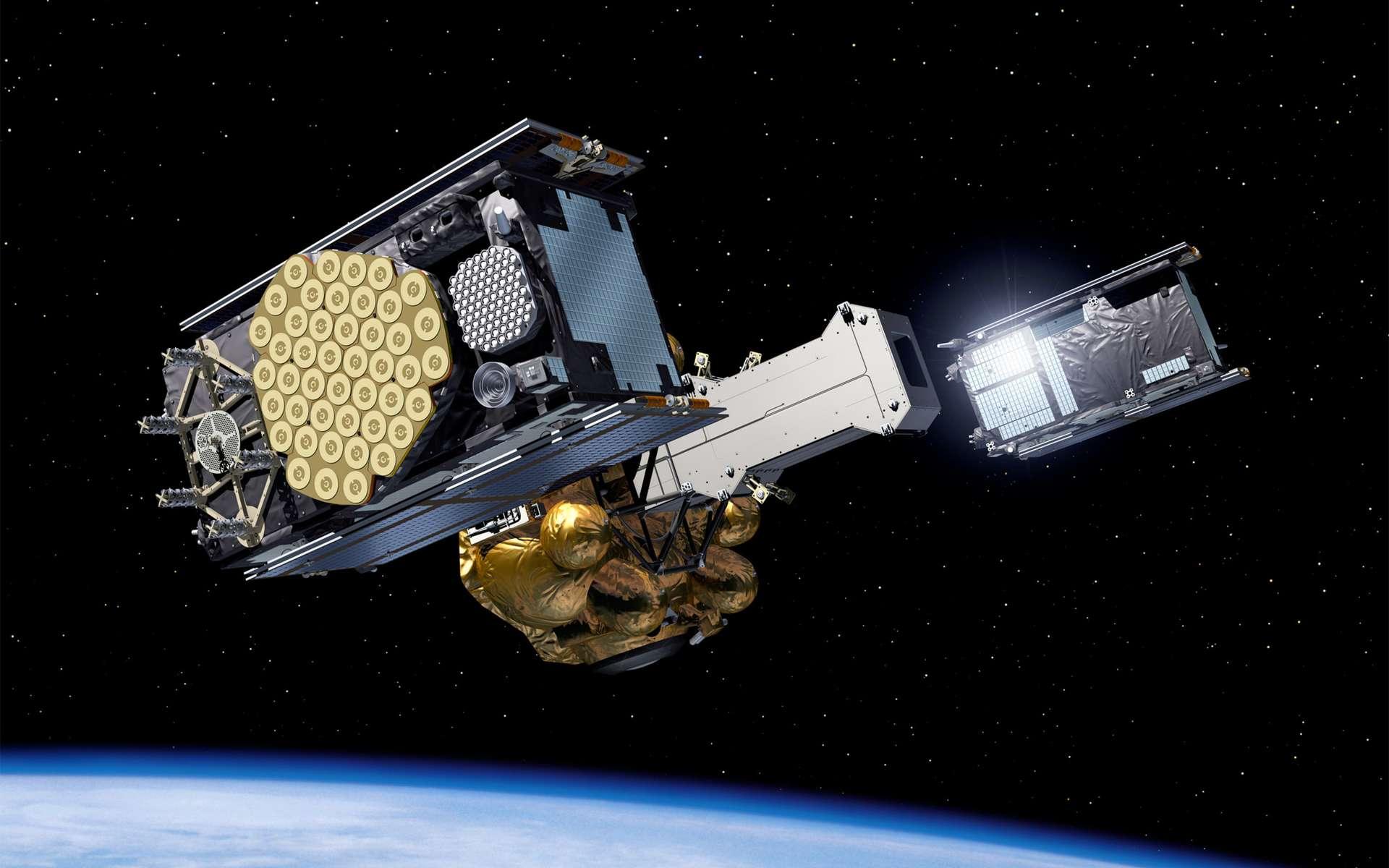 Six ans après le lancement du satellite Giove-A (premier des Giove, Galileo In-Orbit Validation Element), destiné à occuper les fréquences attribuées par l'Union internationale des télécommunications (UIT) à la constellation Galileo, Soyouz s'apprête à en lancer les deux premiers satellites. Il en faudra 30 pour la constellation complète, espérée pour 2016. © Esa/P. Carril, 2011