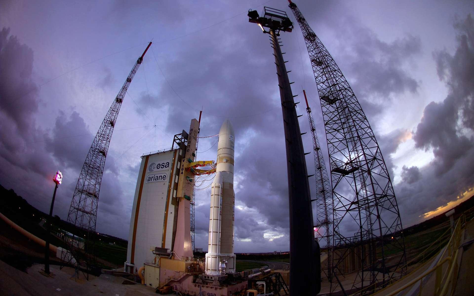Ariane 5 est le seul lanceur opérationnel disponible sur le marché commercial capable de lancer deux charges utiles simultanément. Crédits Esa / Cnes / Arianespace - Service optique CSG