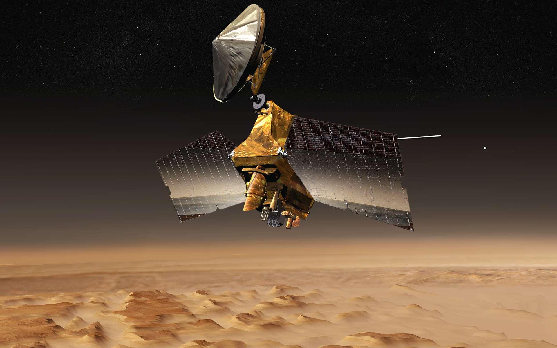 L'orbiteur MRO, en image d'artiste, au-dessus de la planète Mars. © Nasa
