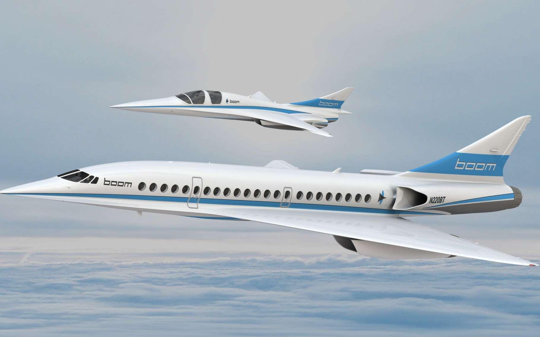 Le projet d'avion supersonique de l'entreprise américaine Boom, qui pourrait transporter une cinquantaine de passagers à Mach 2,2. Au-dessus de lui, le démonstrateur XB1, qui pourrait voler fin 2017. © Boom