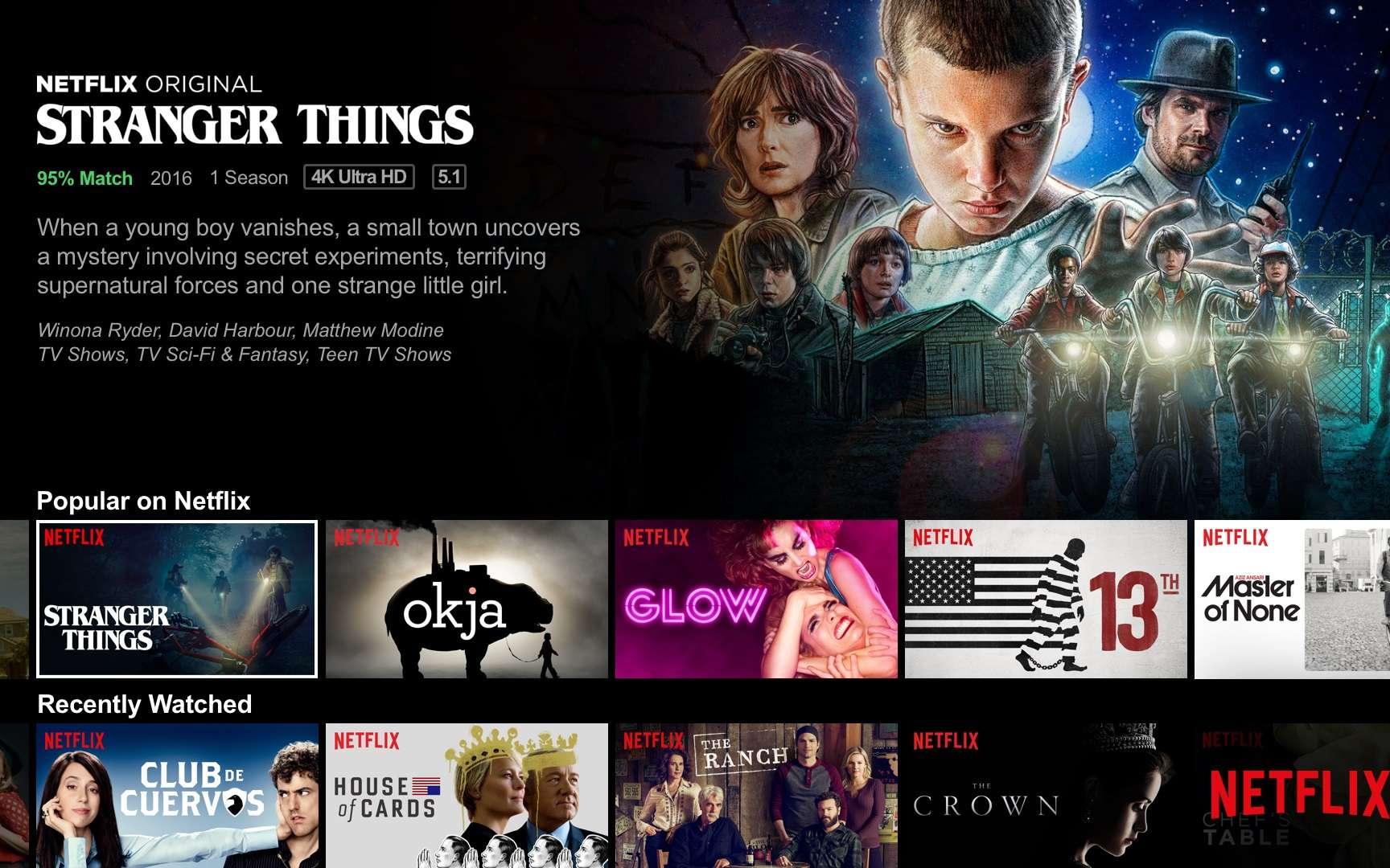 Écran d'accueil de Netflix. © Netflix