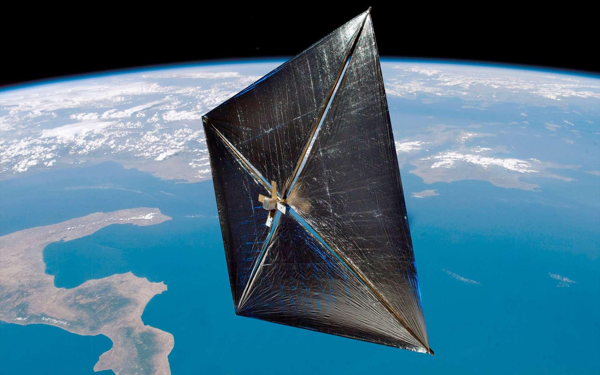Conçue au centre spatial Marshall de la Nasa, cette voile solaire de 10 mètres carrés a été lancée par une fusée Minotaur 4. © Nasa