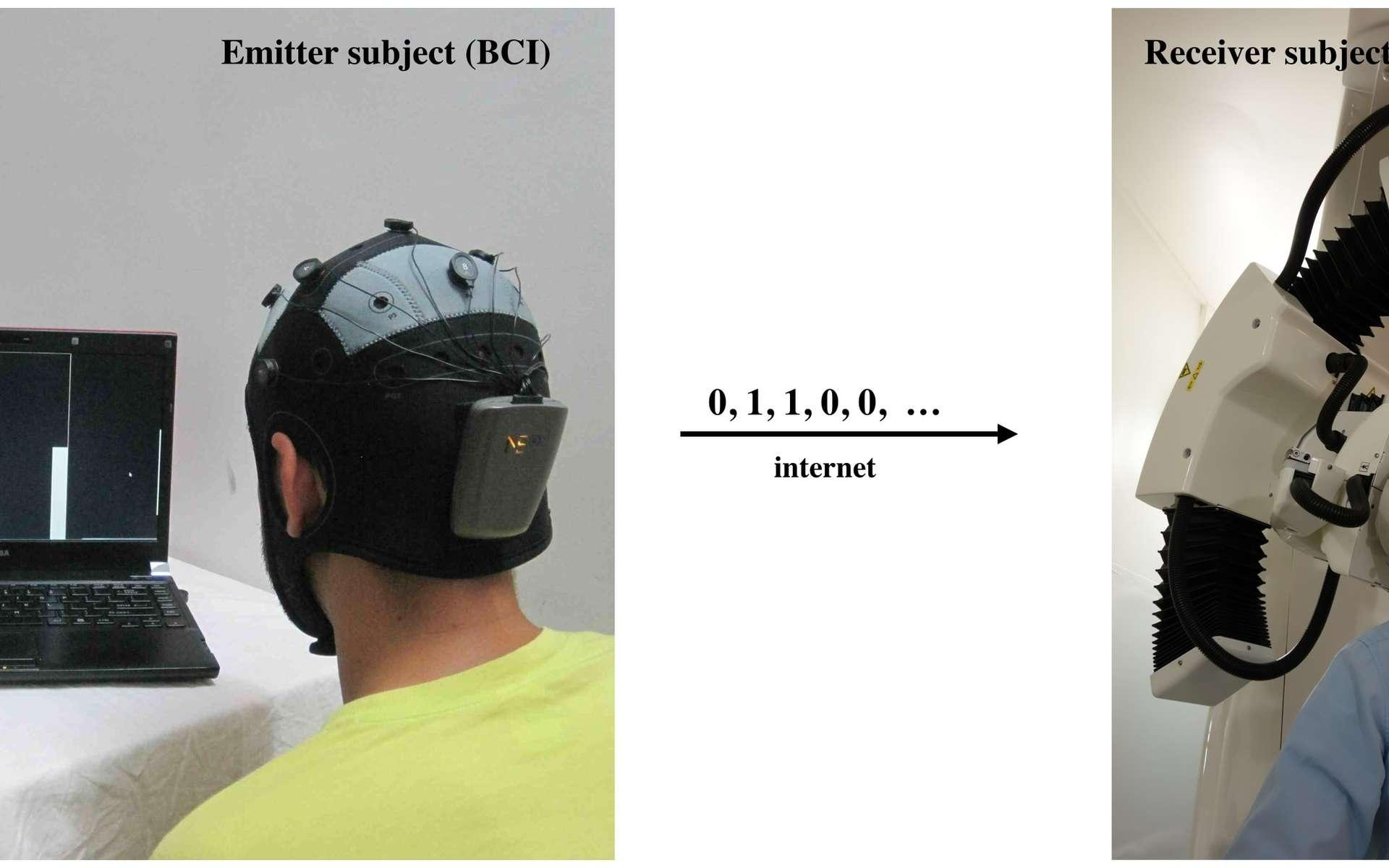 À gauche, le sujet, porteur d'un casque EEG, vient de penser à bouger ses pieds. En guise de confirmation du message envoyé (un « 0 » en l'occurrence), la balle et la barre de l'écran sont descendues vers le bas. L'information est transmise sur le réseau Internet (par courrier électronique) au destinataire (à droite), équipé d'un dispositif transmettant des signaux magnétiques à son cerveau. Selon que l'expéditeur a envoyé un « 1 » ou un « 0 », il percevra, ou non, un illusion lumineuse. © 2014 Grau et al.