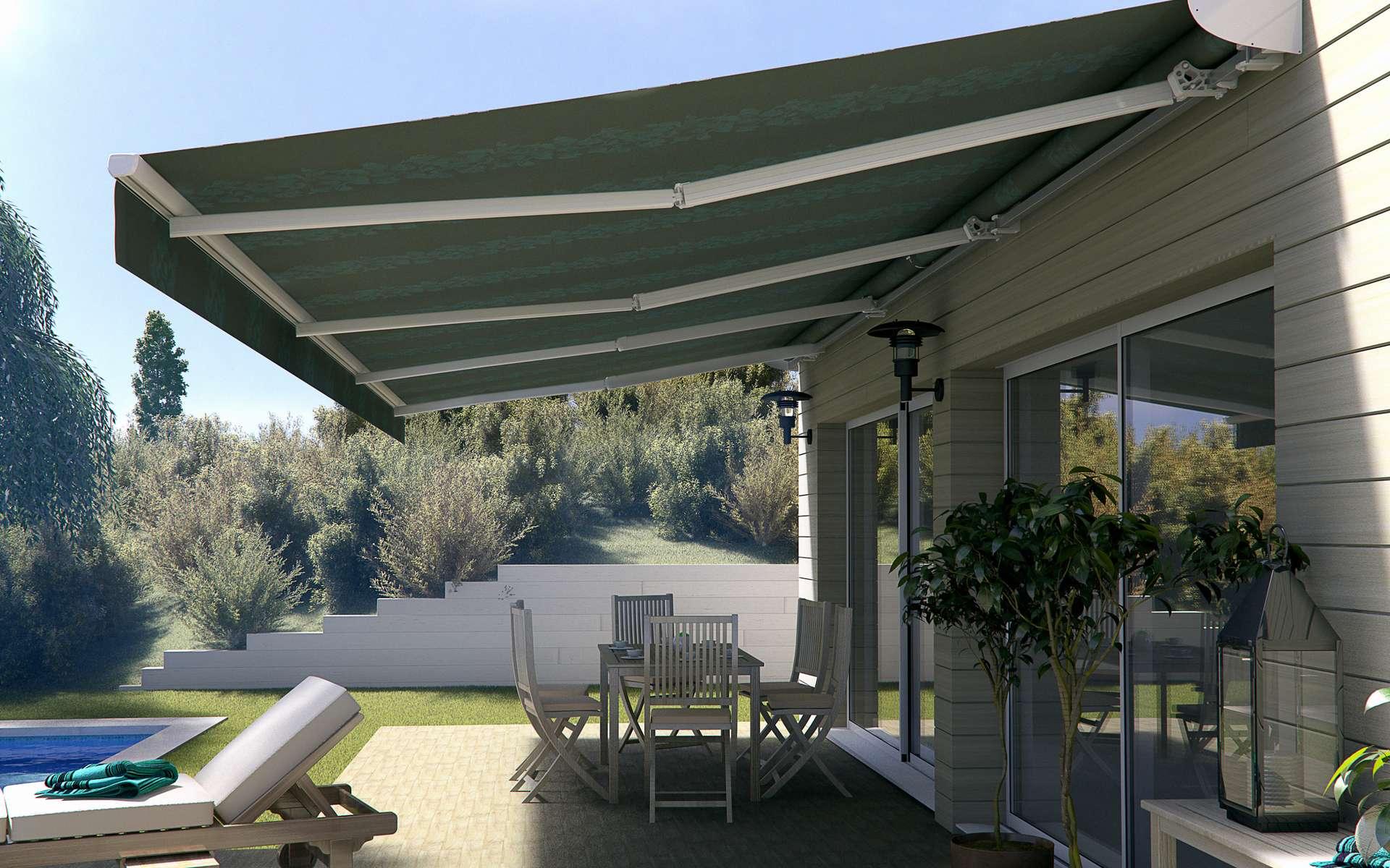 Pour profiter pleinement d'une terrasse ou d'un balcon, le store banne est une protection solaire efficace. Sur mesure ou non, les différents modèles proposés par les fabricants répondent à tous les besoins et budget. © Almatic