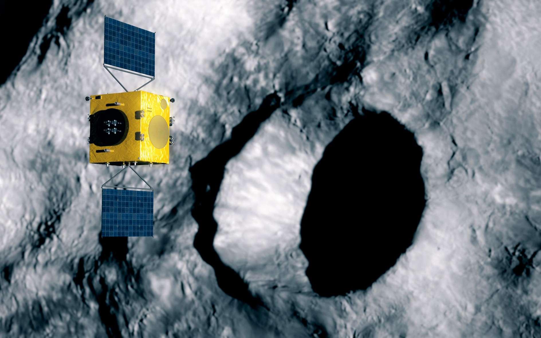 Le satellite Hera de l'Agence spatiale européenne étudiant le cratère formé par le satellite Dart de la Nasa sur l'astéroïde Didymos. © ESA, Science Office