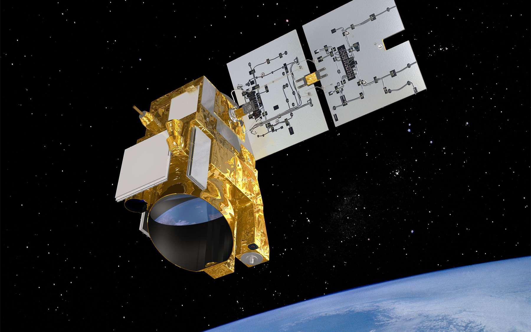 Merlin devrait être lancé d'ici 2020, à bord d'un lanceur Soyouz depuis le Centre spatial de Kourou. Sa durée de vie sera alors d'au moins trois ans. Il sera le premier satellite à utiliser la nouvelle plateforme de la filière Myriade (Myriade Evolution). © Cnes