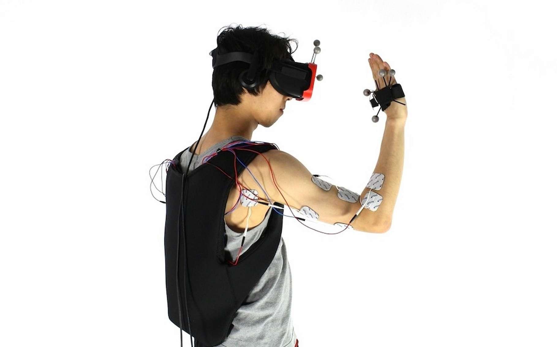 Le dispositif d'électrostimulation conçu par une équipe de l'institut Hasso Plattner est semble-t-il efficace mais pas franchement pratique. © Hasso-Plattner Institute