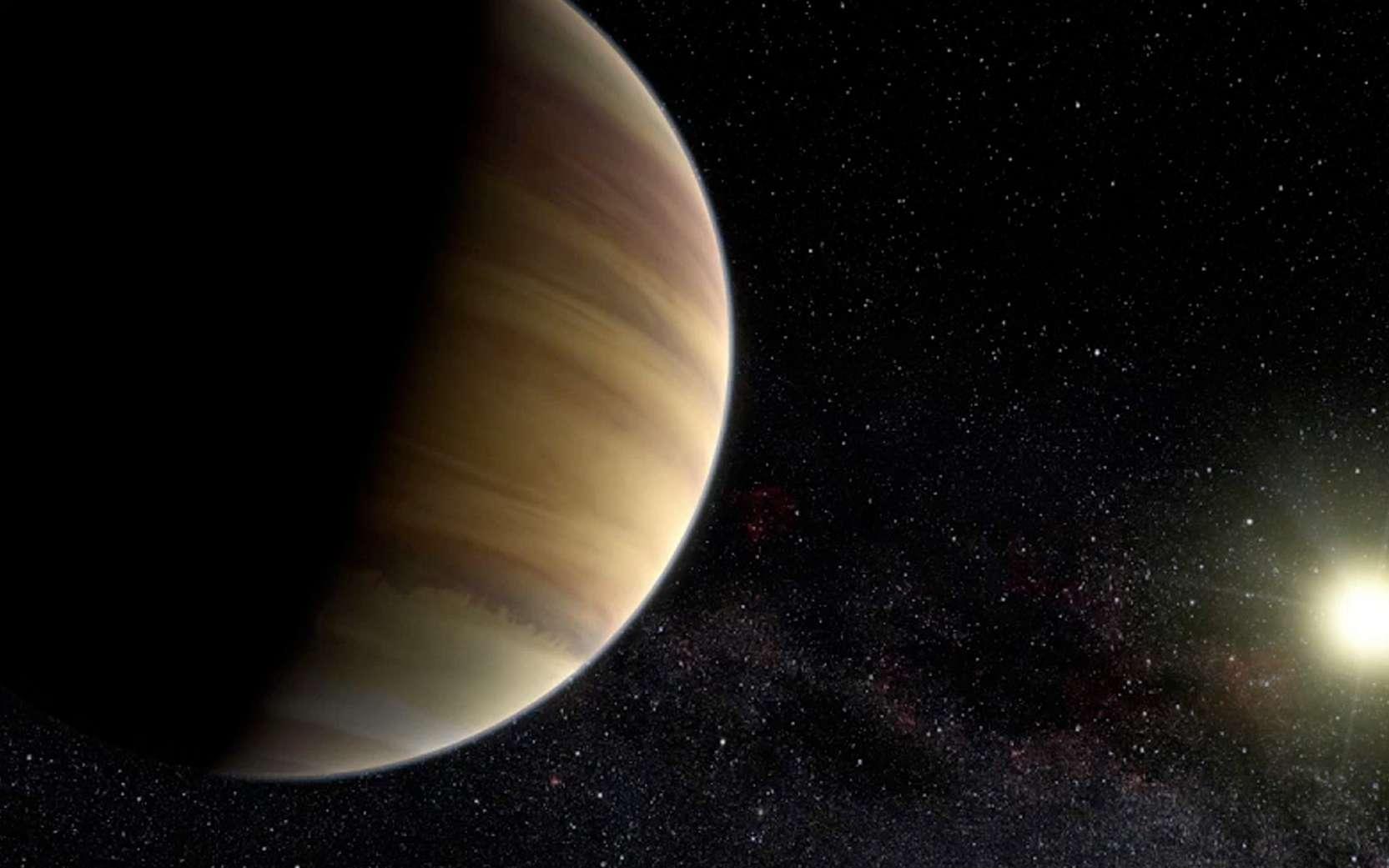 Illustration d'un système similaire à celui de HD 8574, à 150 années-lumière de la Terre. Les Français avaient jusqu'au 5 octobre 2019 pour proposer un nom à cette étoile et la planète qui lui gravite autour. © ESO