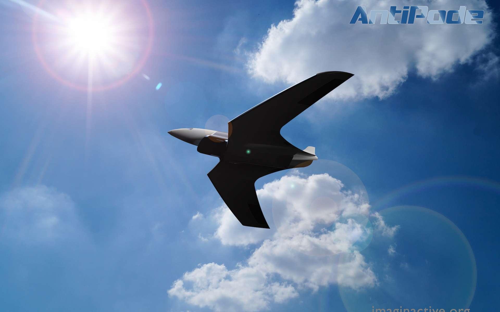 L'Antipode est un concept d'avion hypersonique pas vraiment réaliste qui atteindrait Mach 24 (soit 24 fois la vitesse du son), du jamais vu pour un engin piloté. Son intérêt est surtout de poser les bonnes questions. © Abhishek Roy, Imaginactif