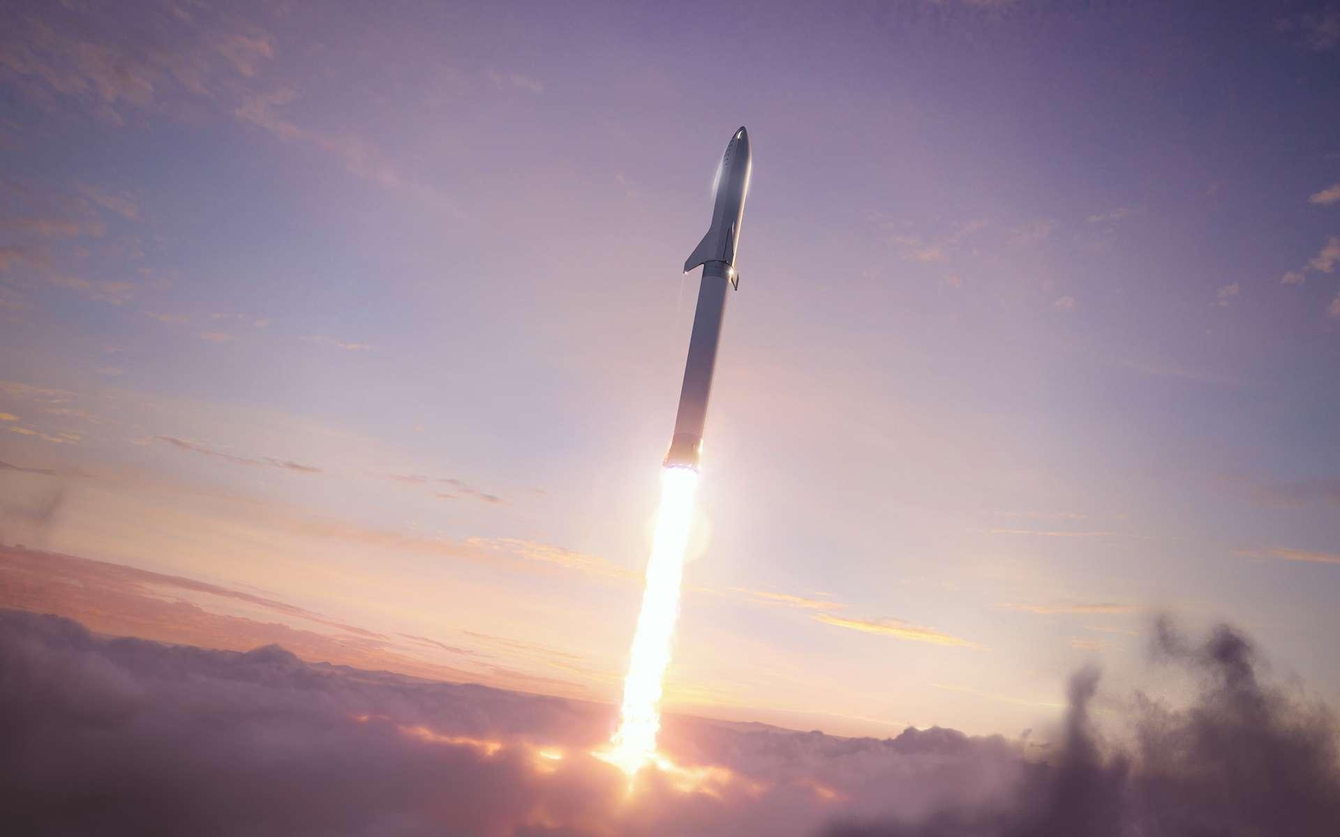 Vue d'artiste du Starship de SpaceX. Ce lanceur à deux étages est constitué d'un étage principal, nommé Super Heavy et de Starship qui désigne le véhicule de transport spatial et l'étage supérieur du lanceur. Ce système de lancement a pour vocation de remplacer l'ensemble de la gamme actuelle de lanceurs de SpaceX. © SpaceX