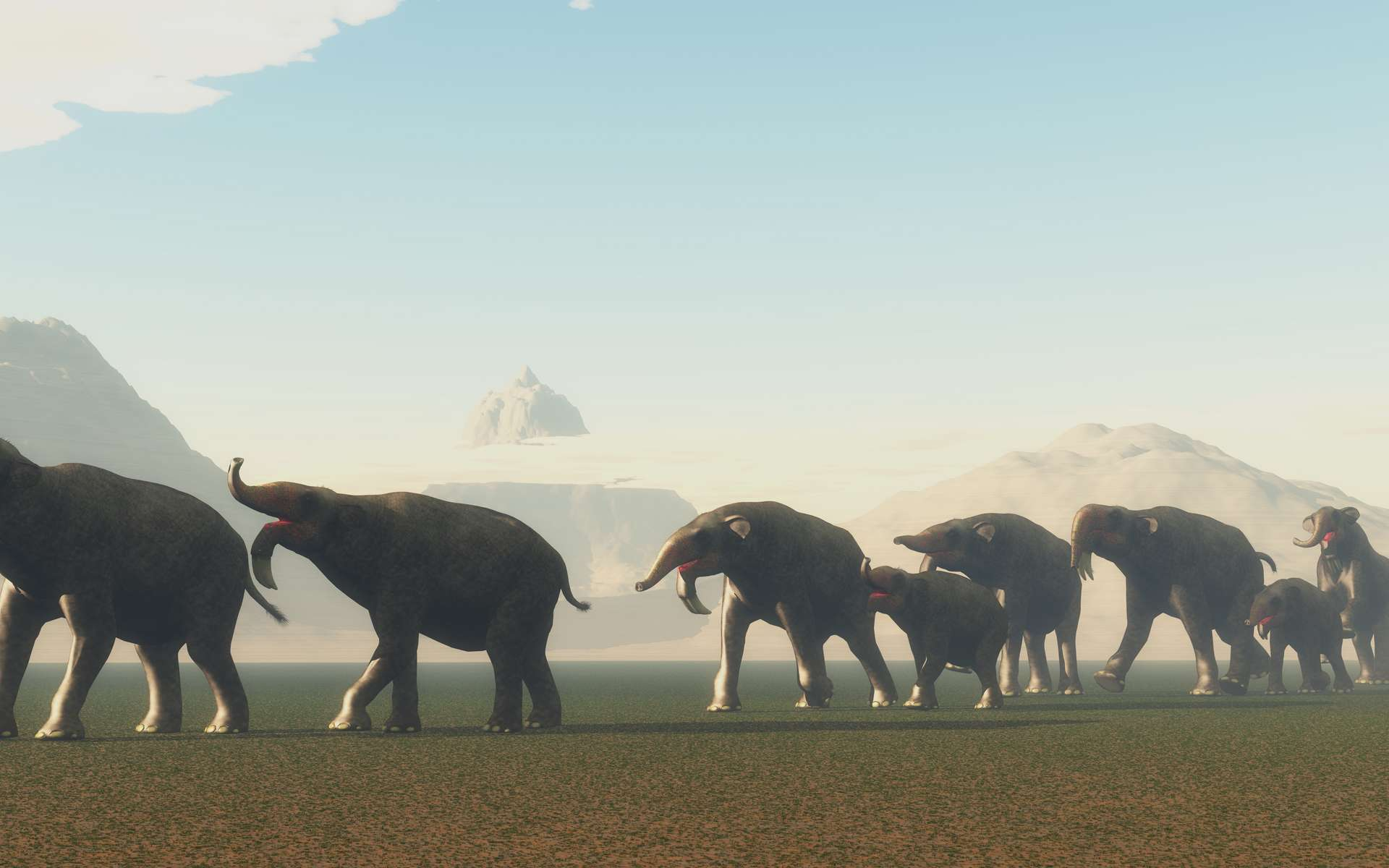 Un groupe de Deinotherium se rend à un point d'eau au cours de l'âge d'or des proboscidiens. © Catmando, Adobe Stock