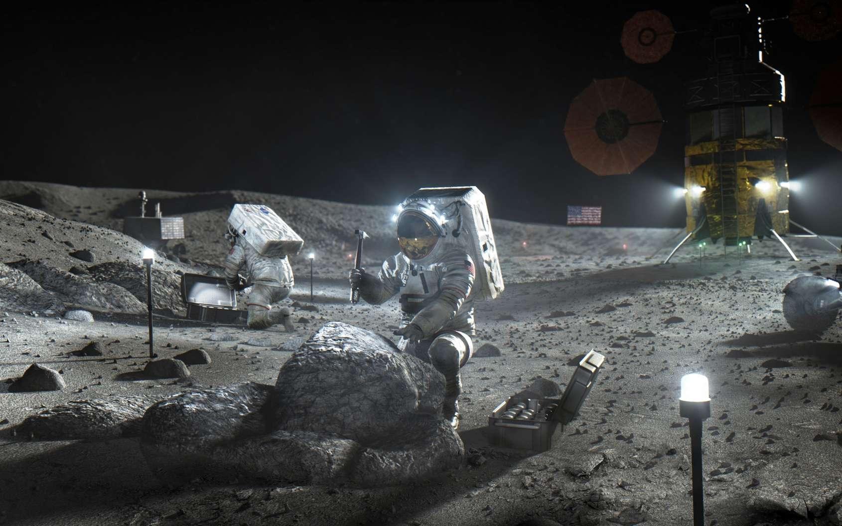 Alors que la France butte sur le déploiement de la 5G, la 4G pourrait bien débarquer sur la Lune dans le cadre du projet Artemis. © Nasa