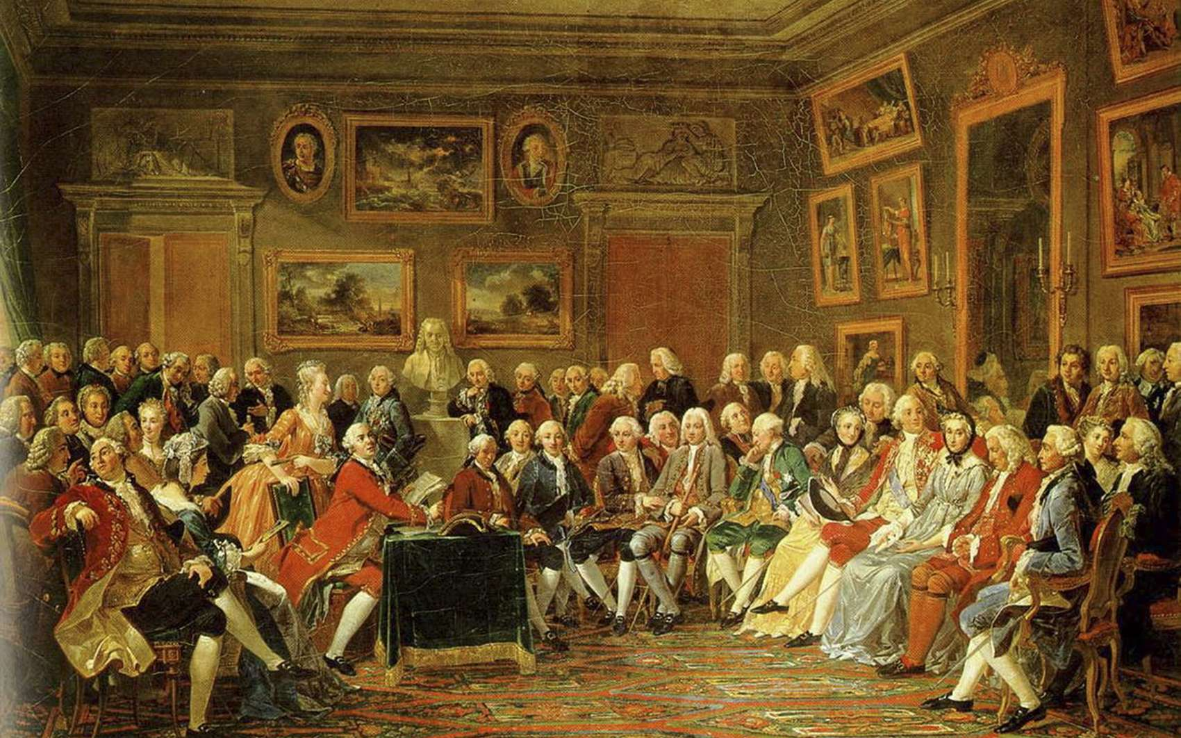 « Lecture de la tragédie de l'orphelin de la Chine de Voltaire dans le salon de Madame Geoffrin ». © Anicet Charles Gabriel Lemonnier, Wikimedia Commons, Domaine public