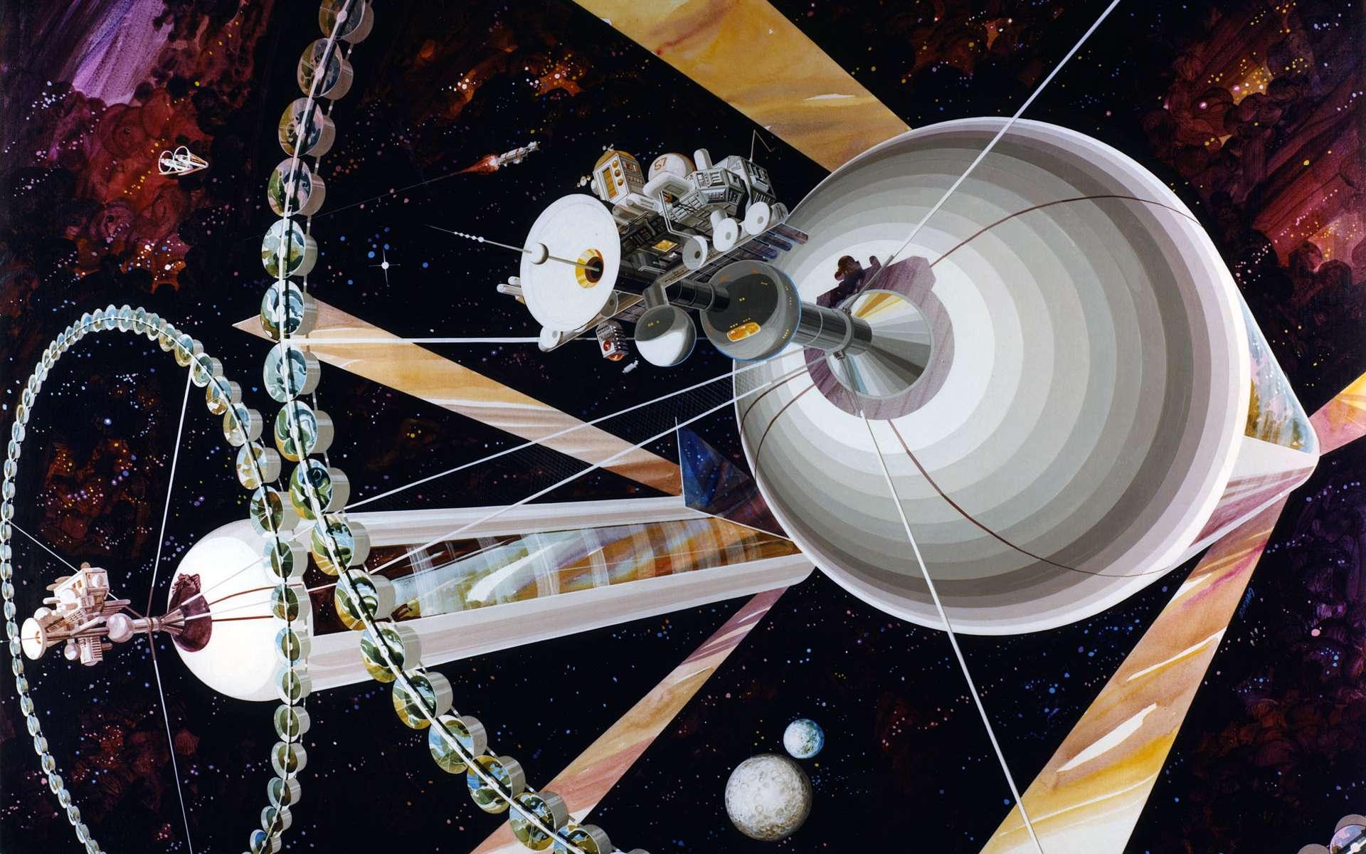 Les colonies spatiales du physicien Gerard O'Neill, comme celle visible sur ce dessin d'artiste, pourraient sans doute être construites en quelques décennies seulement grâce à des machines de von Neumann. © Rick Guidice