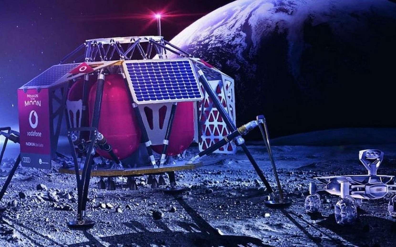 Le module lunaire Alina intègrera la station de base qui établira une connexion cellulaire 4G avec les deux rovers Audi qui iront explorer la Lune et renverront des images en haute définition. © Vodafone