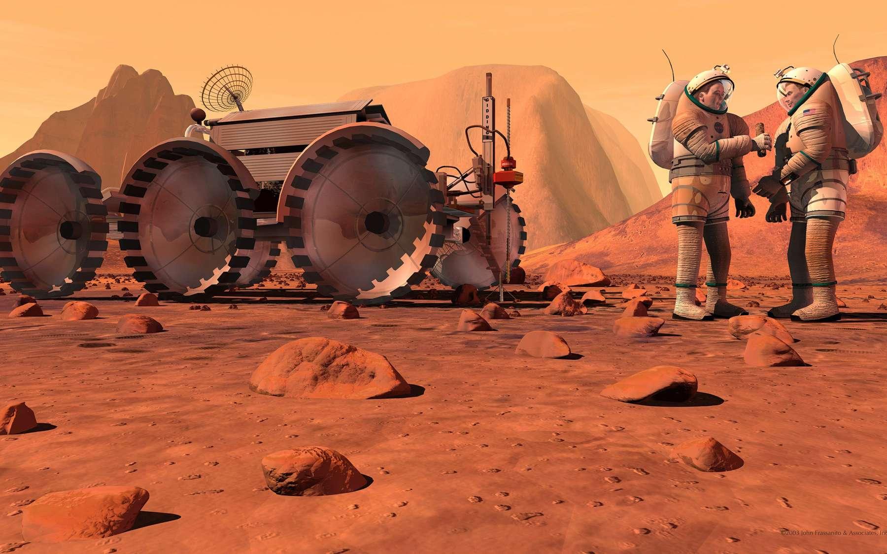 Devant le coût et la difficulté d'une mission habitée vers Mars, les principales agences spatiales ont convenu de réaliser cet effort ensemble. Pour y parvenir, elles ont décidé de planifier et réaliser d'abord une série de missions habitées et robotiques pour démontrer la faisabilité d'envoyer des Hommes sur Mars à l'horizon 2030. © 2003 John Frassanito & associés
