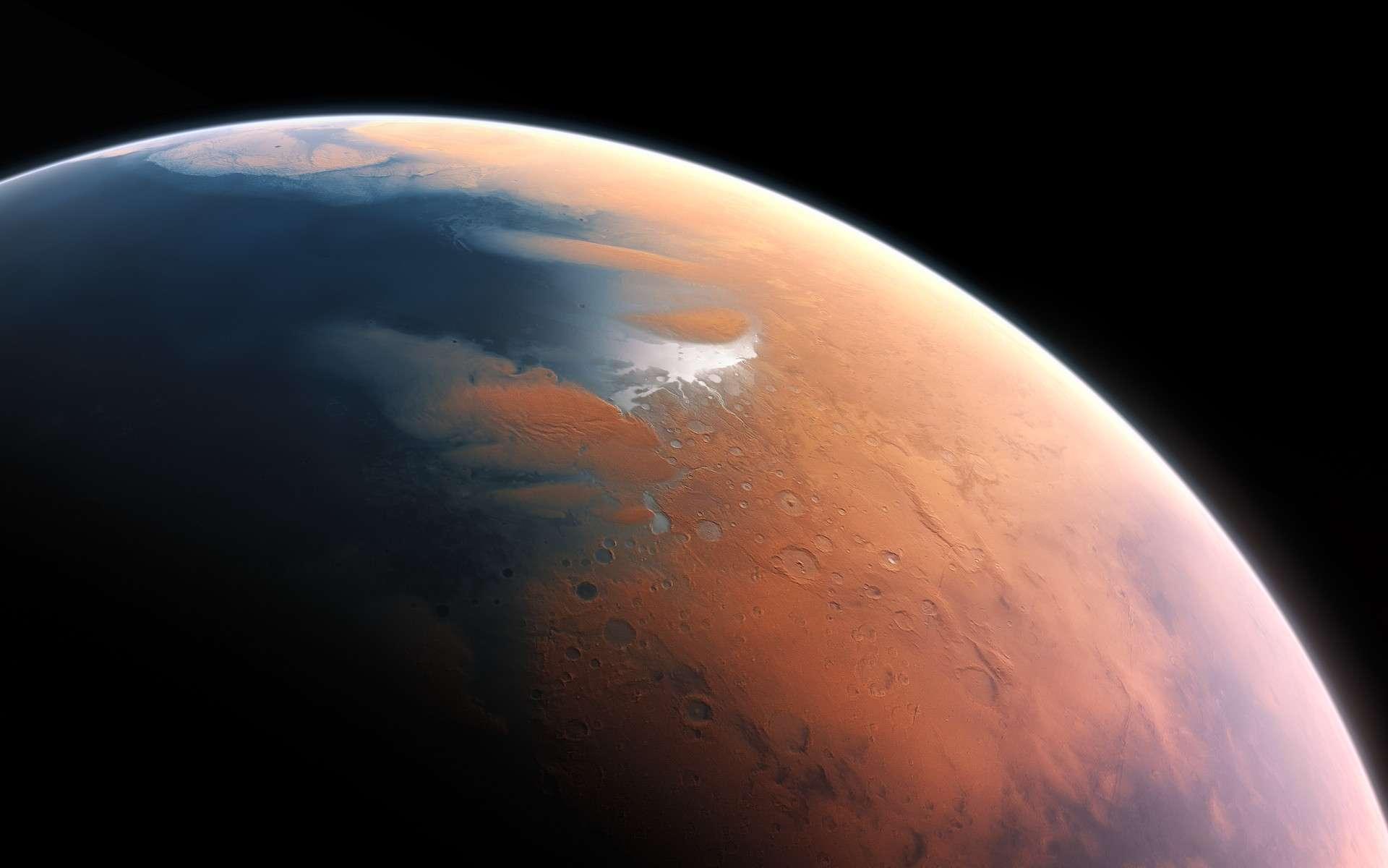 Illustration de Mars en partie recouverte d'eau liquide. © ESO, M. Kornmesser