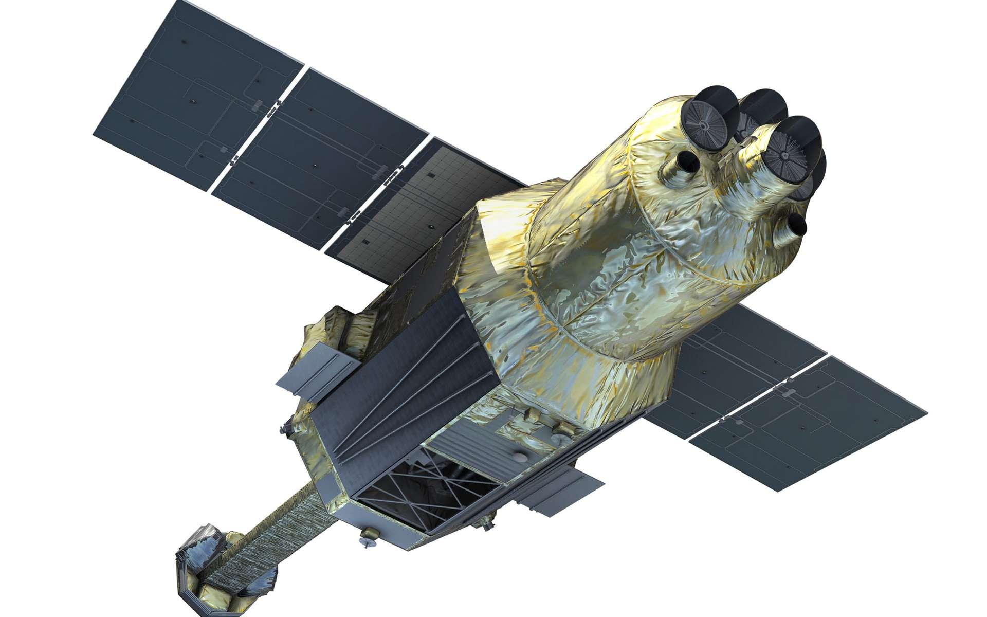 Hitomi est un satellite de 14 mètres de long pour une masse de 2,7 tonnes. Il est équipé de six télescopes et détecteurs à rayons X d'une résolution sans précédent et dispose d'un mât extensible de plus de 6 mètres (ce qui permet de disposer d'une focale de 12 mètres pour certains des instruments qu'il embarque). © Jaxa, Nasa/Goddard