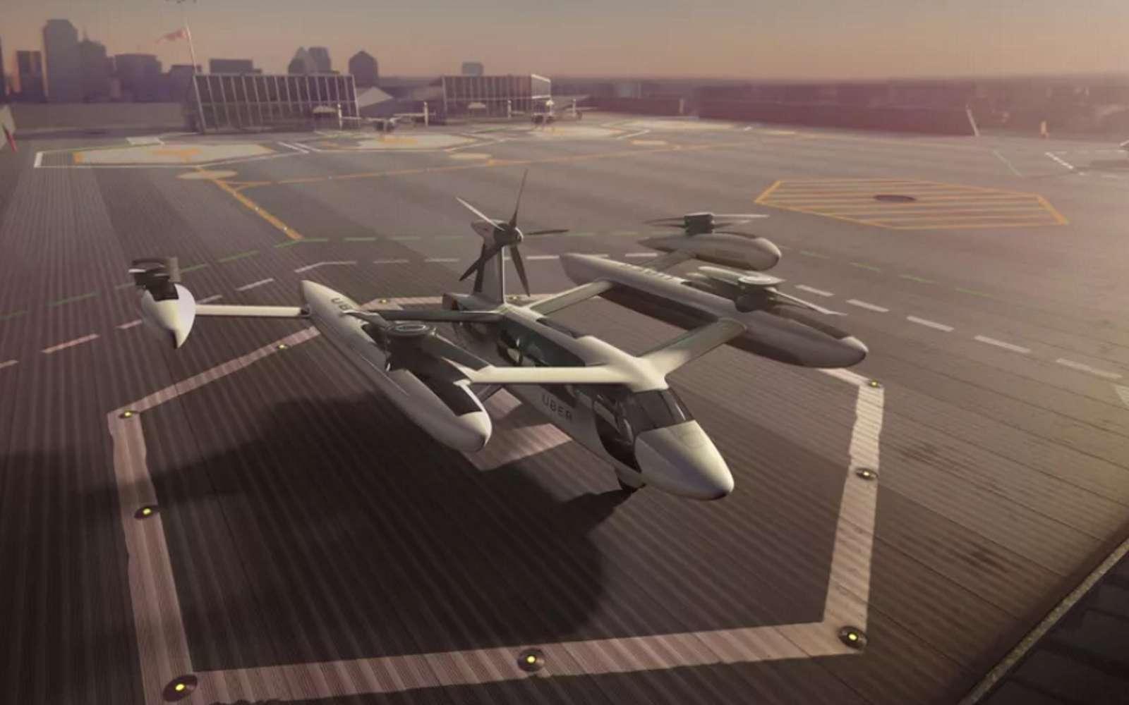 Uber Air compte faire voler des drones taxis à partir de plateformes baptisées « skyports » et situées sur des toits d'immeubles. C'est à partir de ces plateformes que les drones livreurs de repas devraient décoller. © Uber