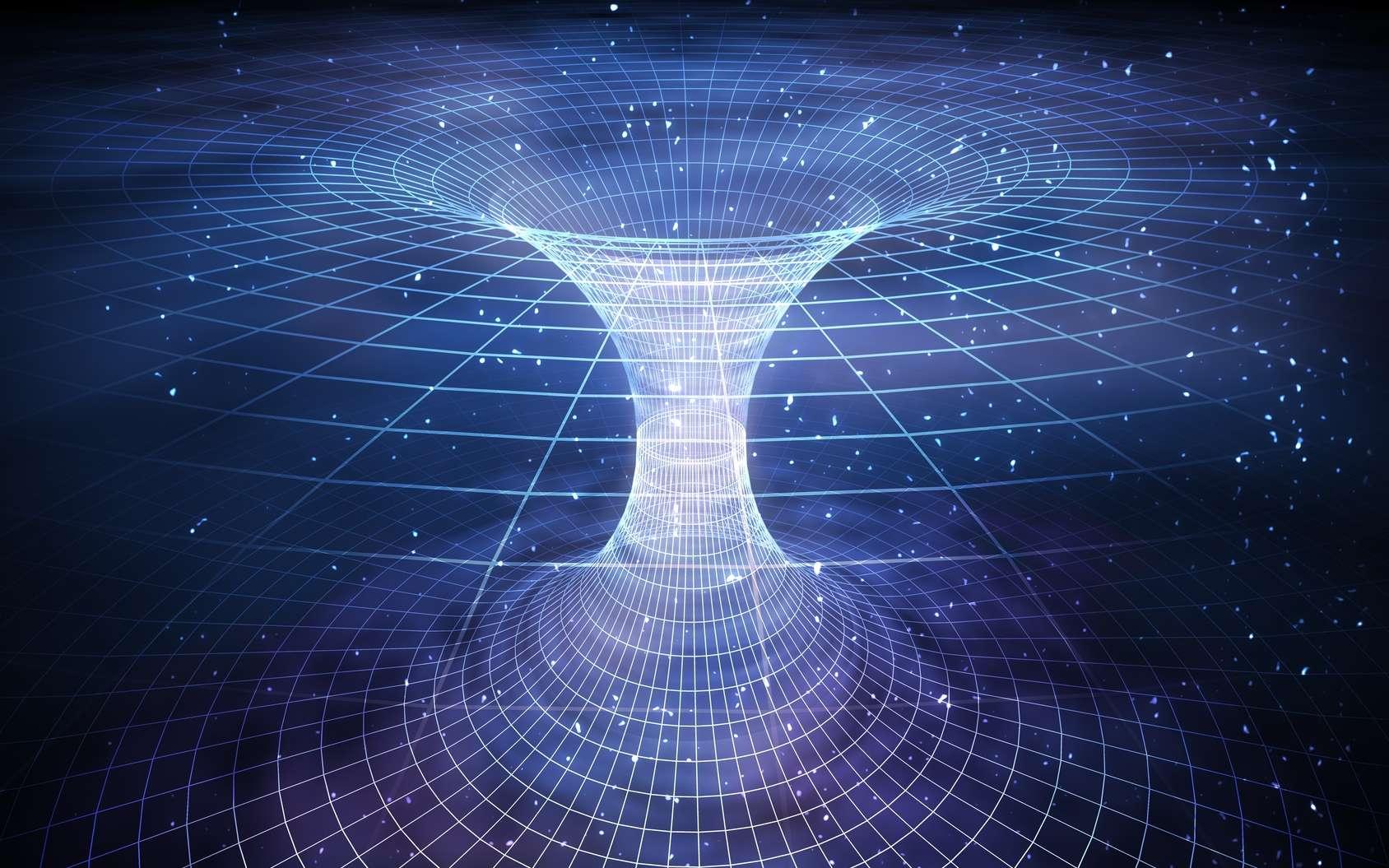 Un trou de ver (wormhole en anglais) traversable connecte deux régions de l'espace-temps. © vchalup, fotolia
