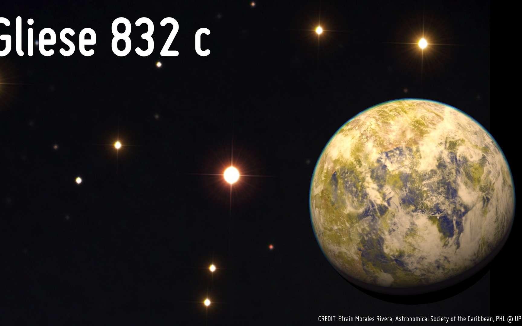 Illustration au premier plan de la superterre Gliese 832c, environ 5,4 fois plus massive que notre planète. Sur la photographie à l'arrière-plan prise le 20 juin dernier par Efraín Morales Rivera, on distingue son étoile parent, la naine rouge Gliese 832 distante de 16 années-lumière autour de laquelle elle gravite en 36 jours dans la zone habitable. © Efraín Morales Rivera de la Societé Astronomique des Caraïbes et UPR Arecibo