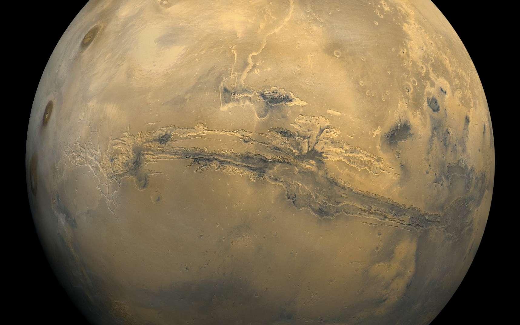 Une vue spectaculaire de la surface de Mars. On voit en particulier le fameux canyon Valles Marineris. © Nasa