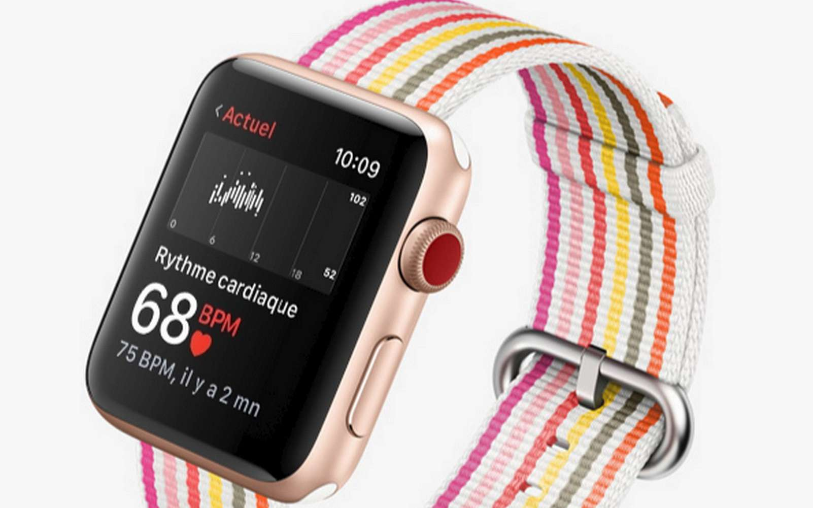 L'application utilisée pour cette étude utilise le capteur de fréquence cardiaque de la montre pour détecter un pouls irrégulier. © Apple