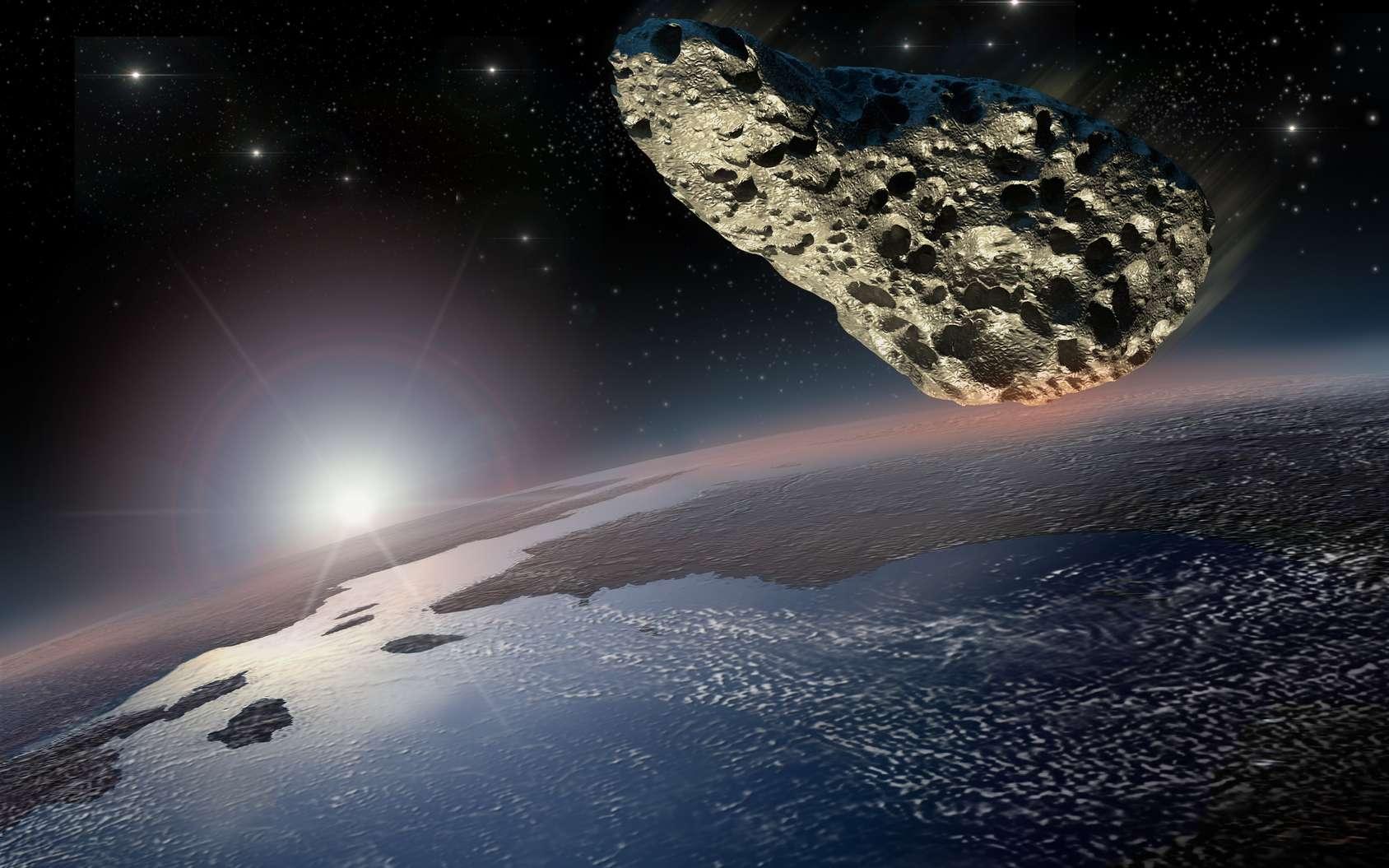 Illustration d'un astéroïde approchant de la surface de la Terre. © 3000ad, fotolia