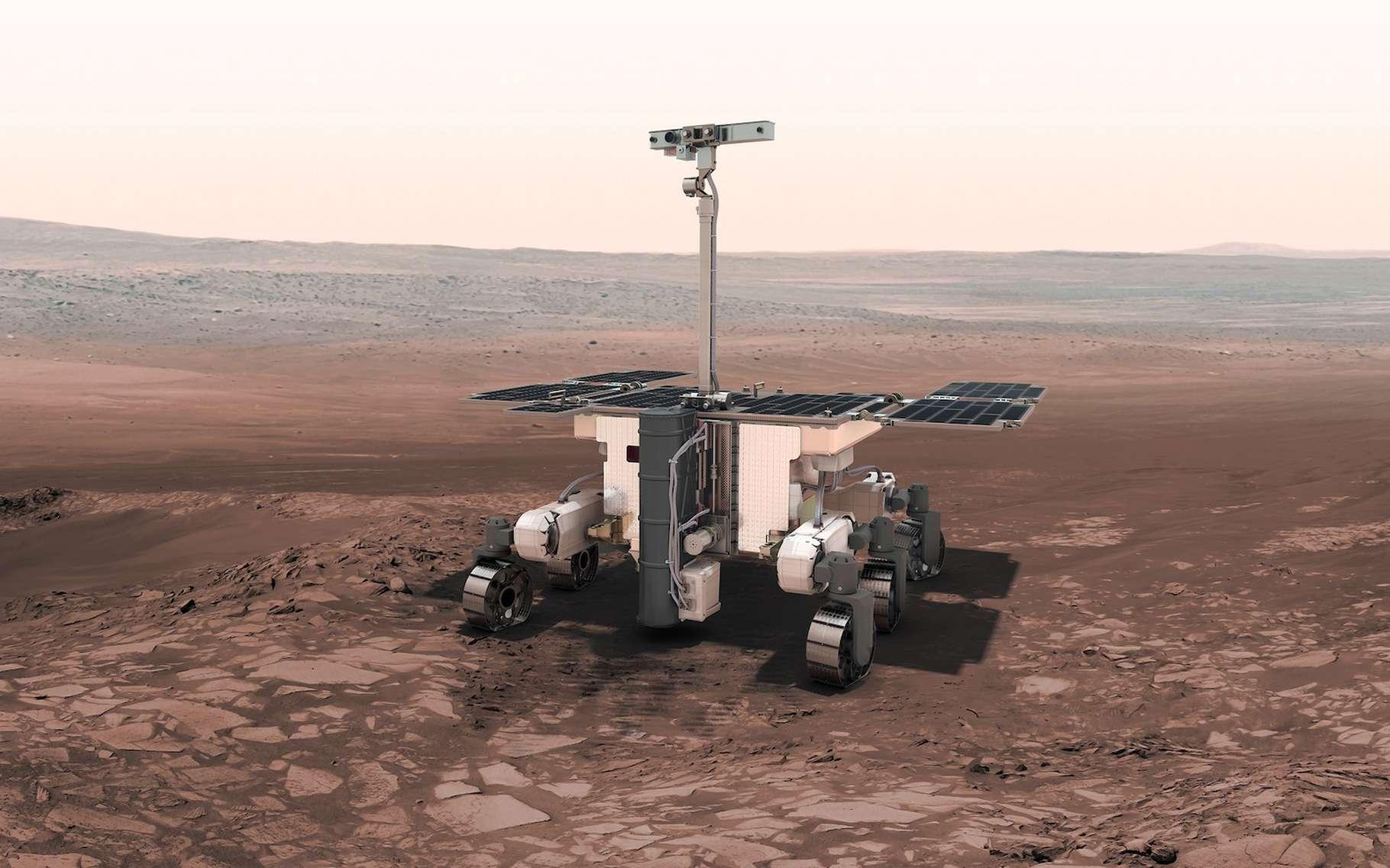 En dessin d'artiste, le rover ExoMars 2020 à pied d'œuvre dans la vallée Coogoon. © ESA