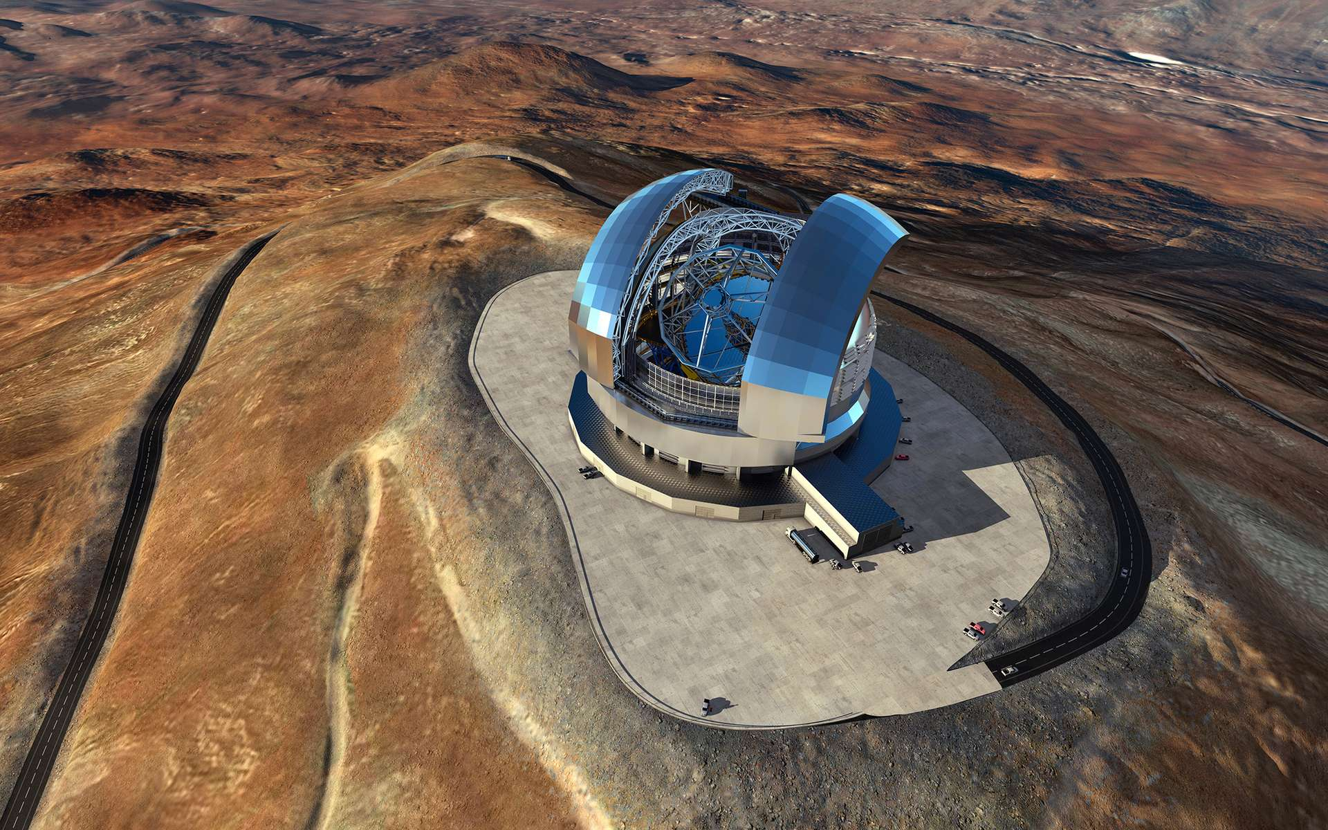 Vue d'artiste du télescope géant de l'ESO (E-ELT), dont la construction a débuté au Chili. Cette observatoire, doté d'un miroir primaire de 39 mètres, sera installé au sommet du Cerro Armazones. Sa mise en service et ses premières lumières sont prévues en 2026. © ESO / L. Calçada / ACe Consortium