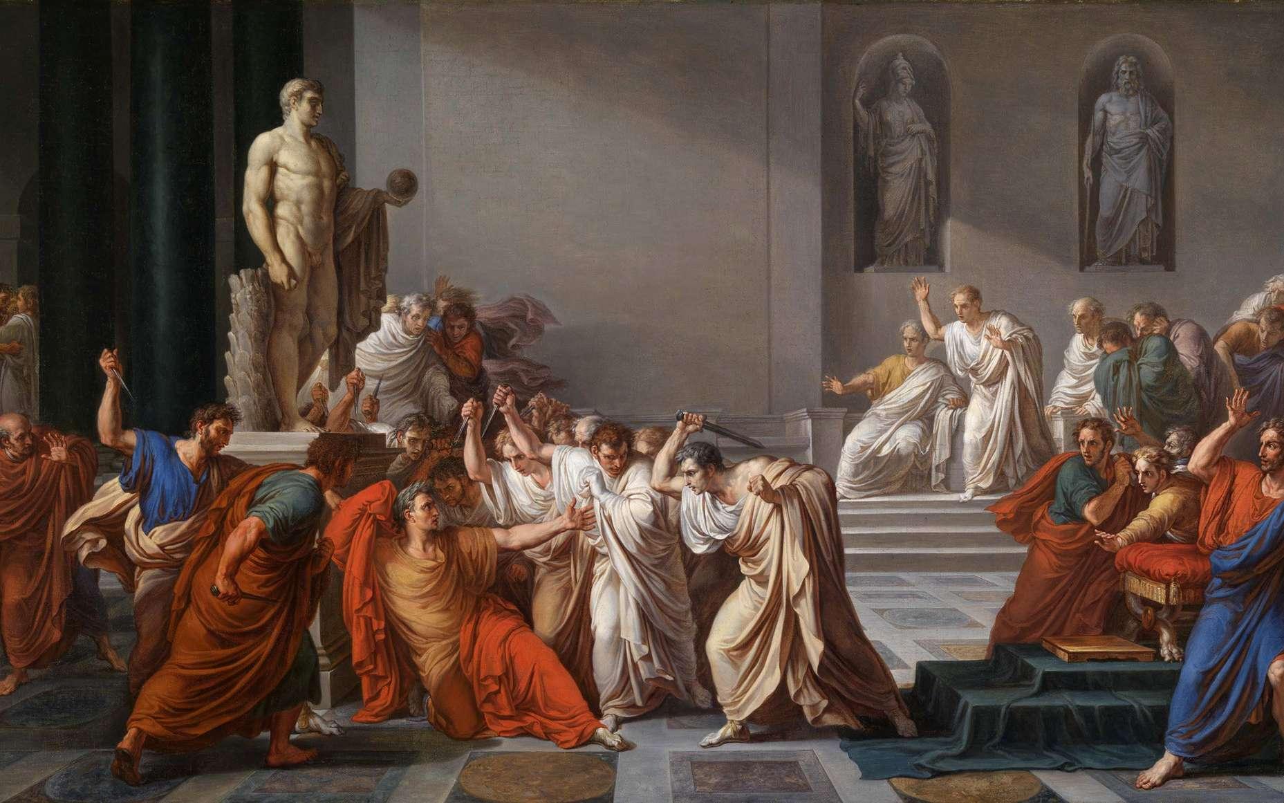 Comment est mort Jules César ? Ici, L'assassinat de Jules César, par Vincenzo Camuccini (1771-1844). © DP