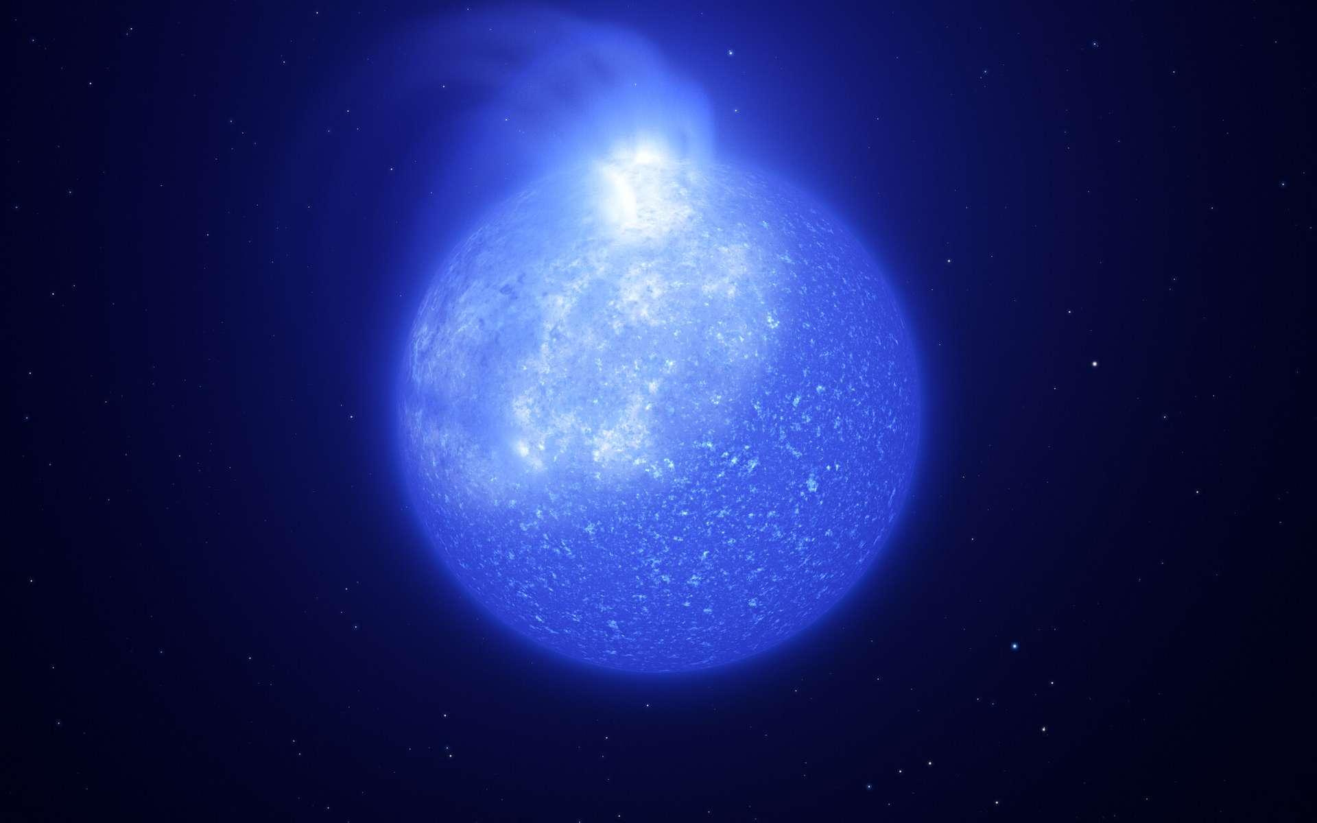 Les astronomes utilisant les télescopes de l'ESO ont découvert des taches géantes à la surface d'étoiles extrêmement chaudes cachées dans des amas stellaires. Ces étoiles sont appelées étoiles de la branche horizontale extrême. Cette image montre une représentation artistique de ce à quoi pourrait ressembler l'une de ces étoiles et sa tache blanchâtre géante. La tache est brillante, occupe un quart de la surface de l'étoile et est causée par des champs magnétiques. Lorsque l'étoile tourne, la tache à sa surface va et vient, provoquant des changements visibles de sa luminosité. © ESO/L. Calçada, INAF-Padua/S. Zaggia