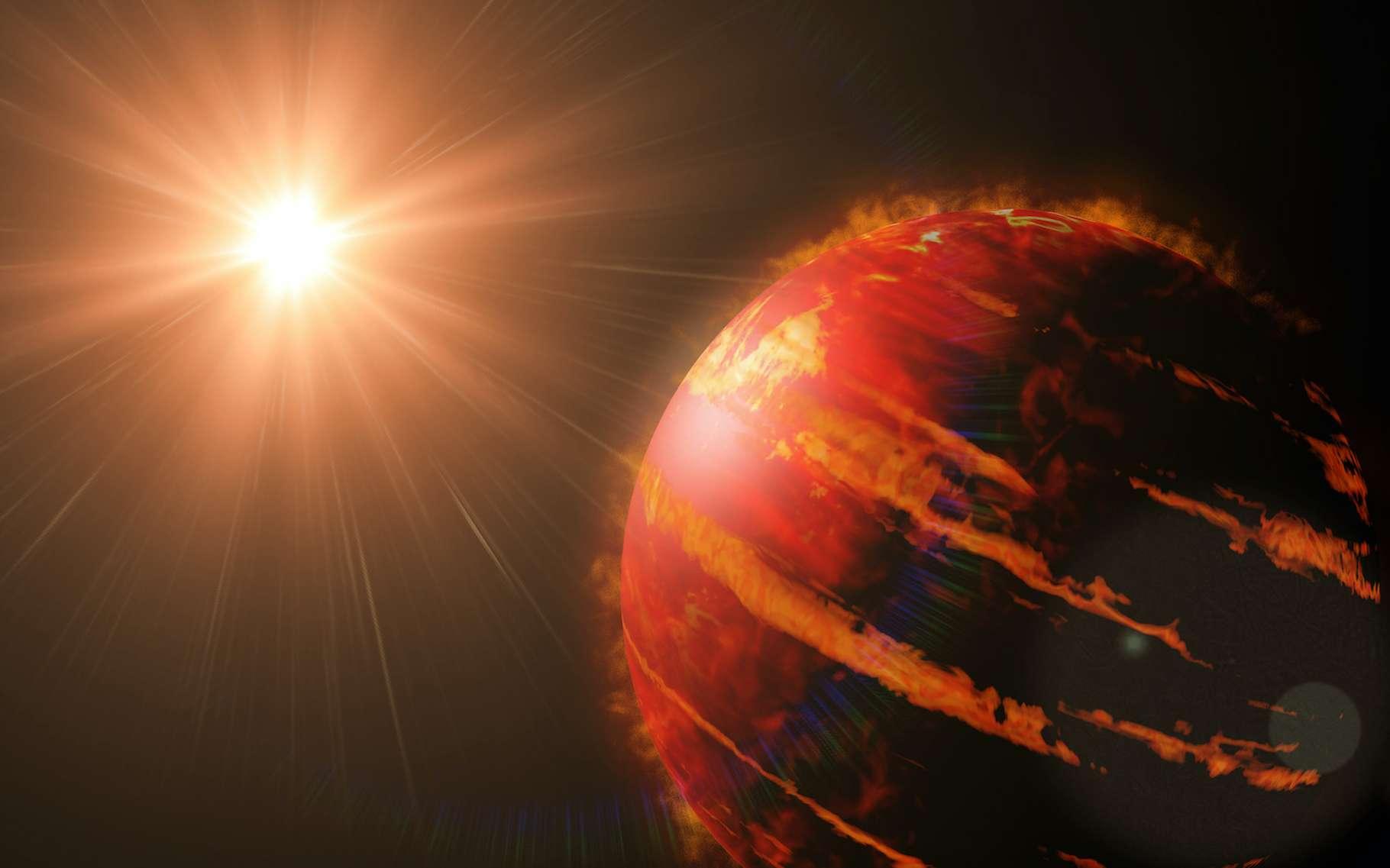 Des astronomes de l'université Cornell (États-Unis) ont découvert du calcium ionisé dans l'atmosphère d'une exoplanète. De quoi les renseigner sur les conditions dantesques qui règnent sur WASP-76b. © dottedyeti, Adobe Stock