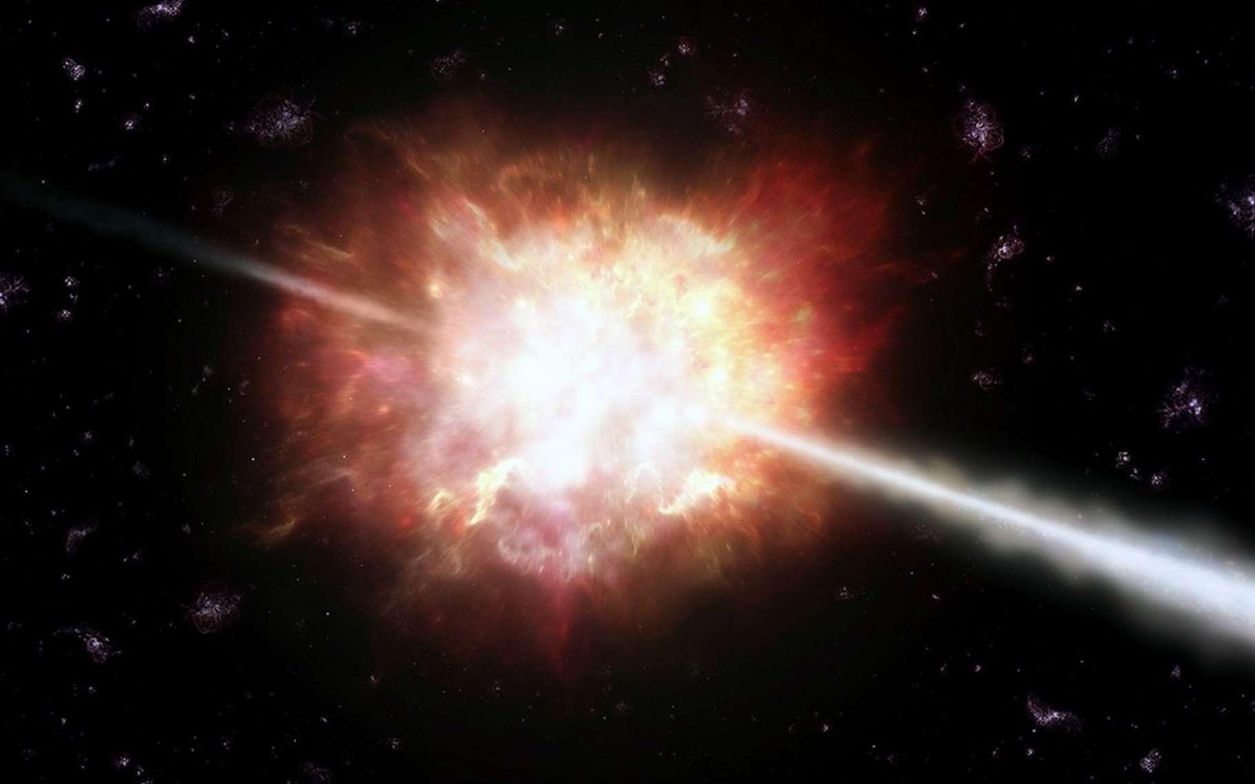 Lorsqu'une étoile massive s'effondre, il se produit ce que les astronomes appellent un sursaut gamma — ici en vue d'artiste. © A. Roquette, ESO