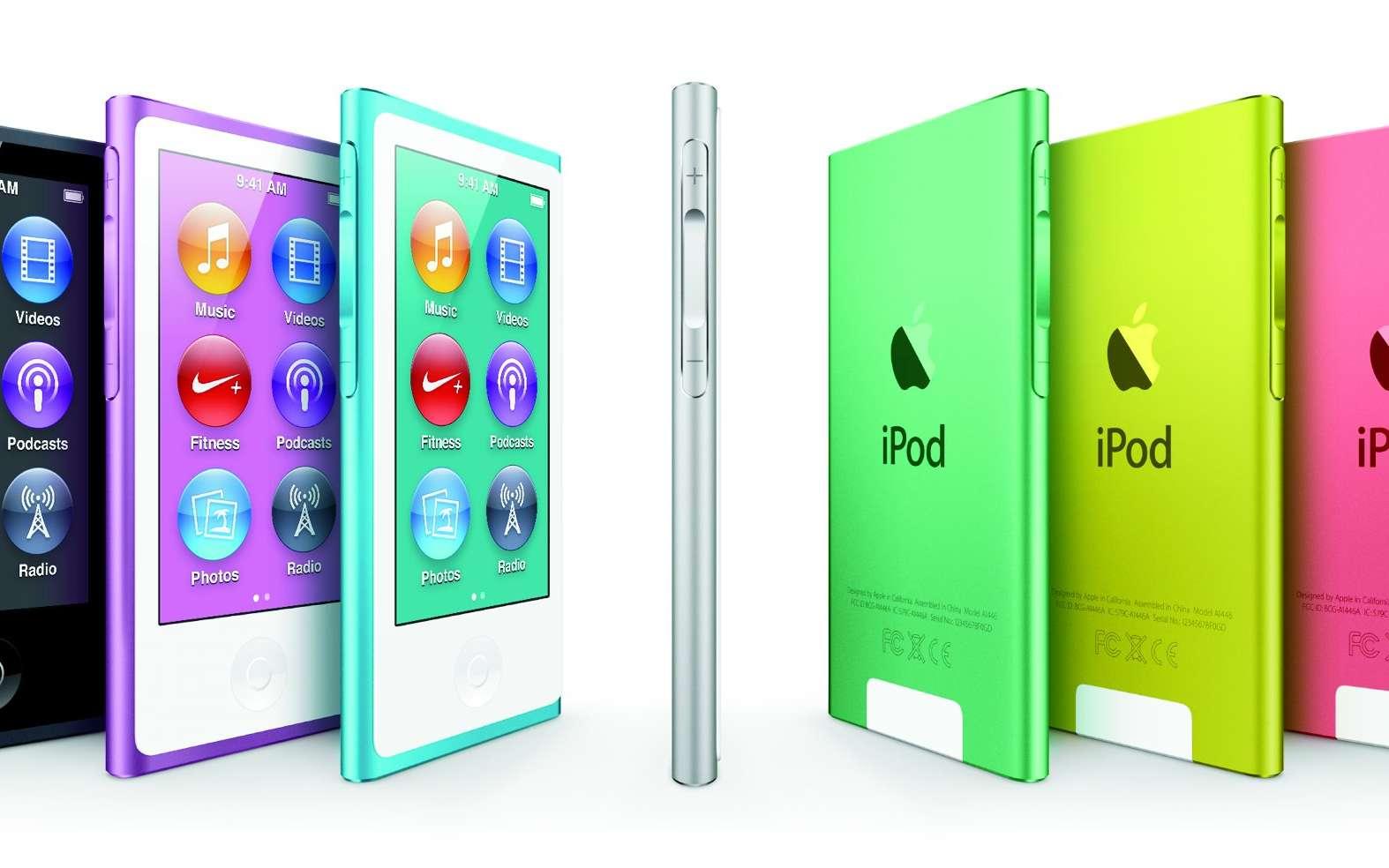 Rupture pour le Nano qui passe d'un format carré à rectangulaire grâce à un écran 2,5 pouces. Ce changement permet notamment de lire les vidéos. © Apple