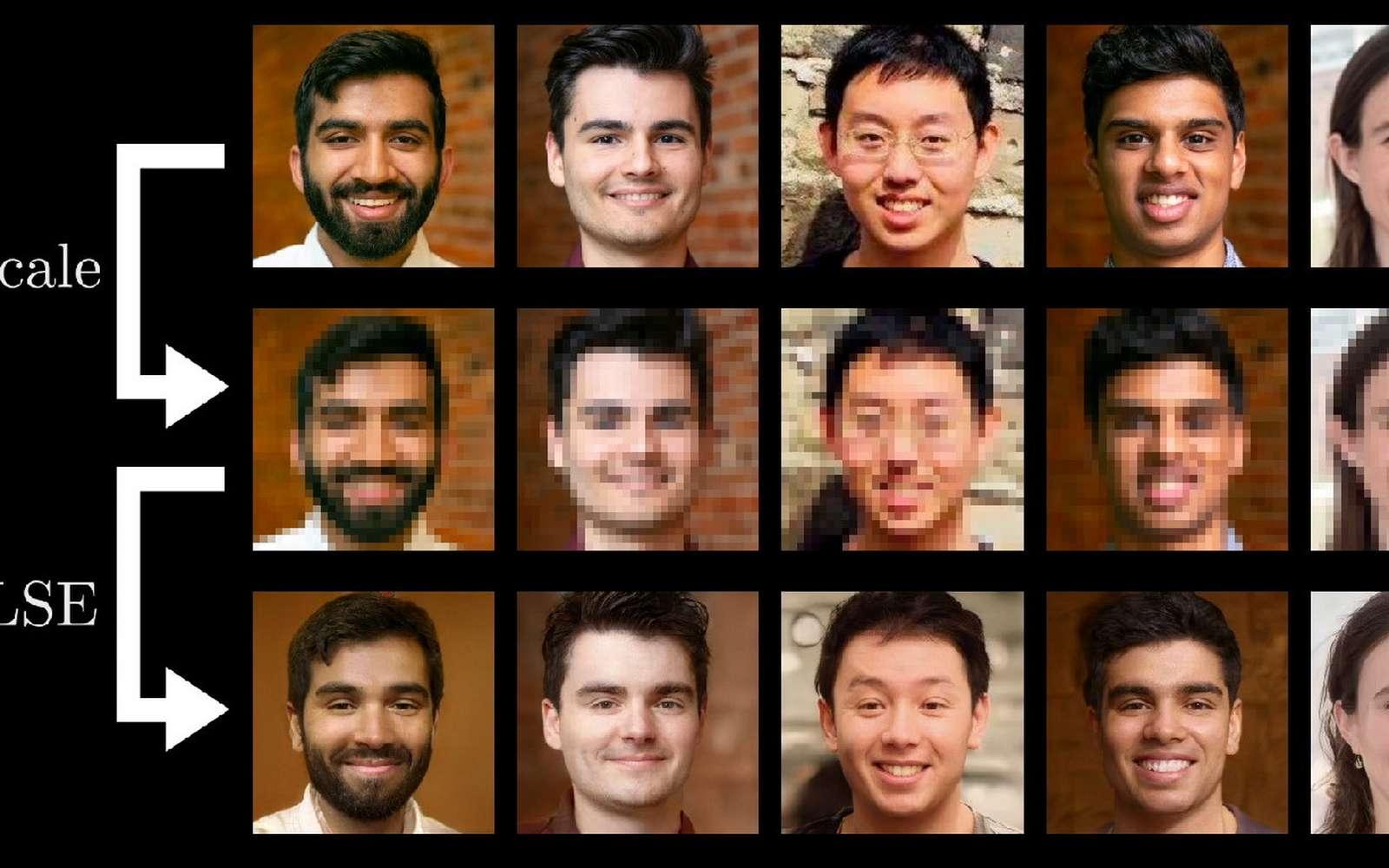 Les chercheurs comparent leurs propres photos avec celles générées par l'IA Pulse à partir de miniatures. © Université Duke