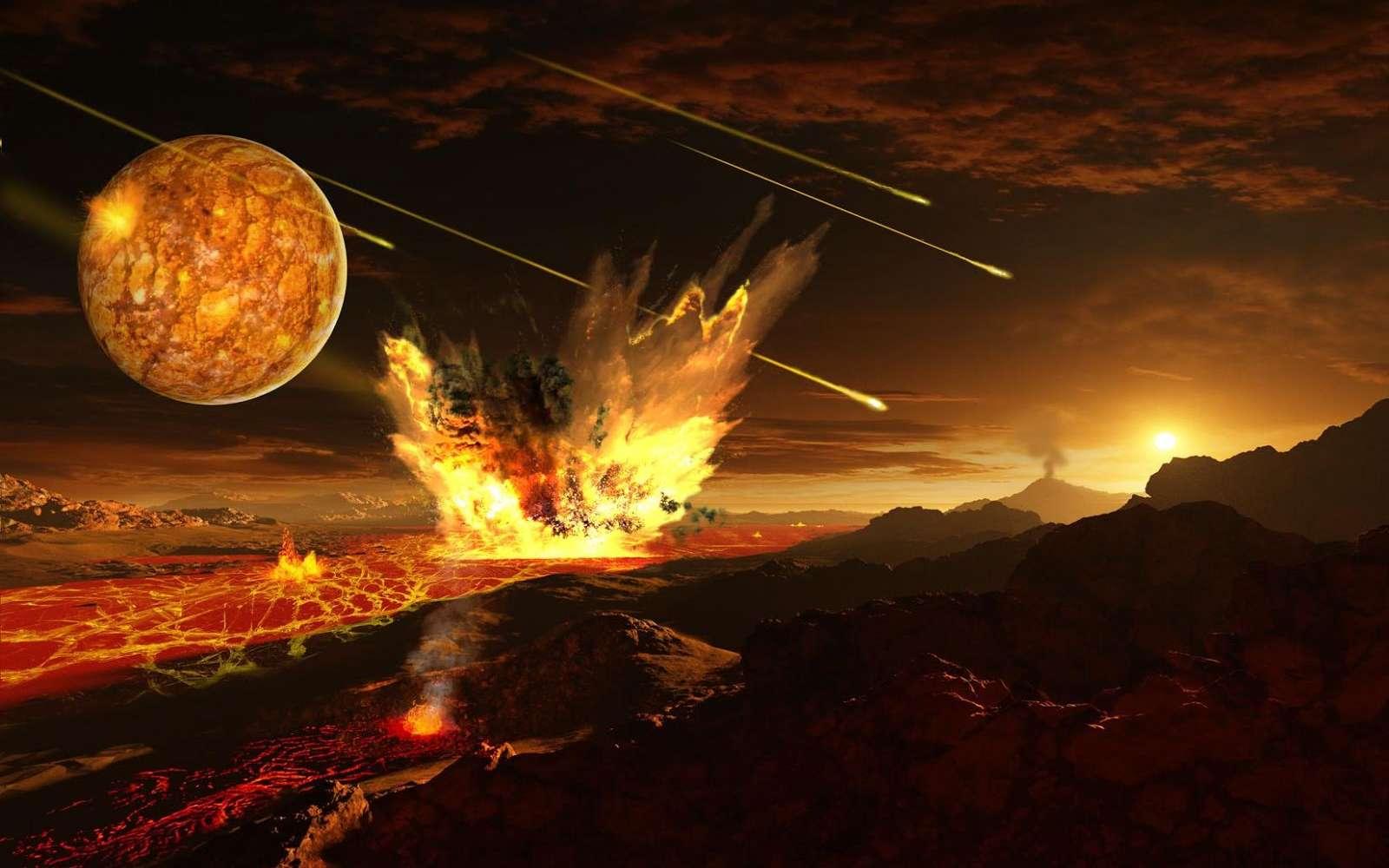 La Terre primitive a été bombardée de météorites. Hormis la Lune, représentée à gauche dans le ciel, un corps riche en soufre semblable à Mercure a pu être englouti par la Terre, selon une récente étude publiée dans Nature. © Ron Miller via International space art network