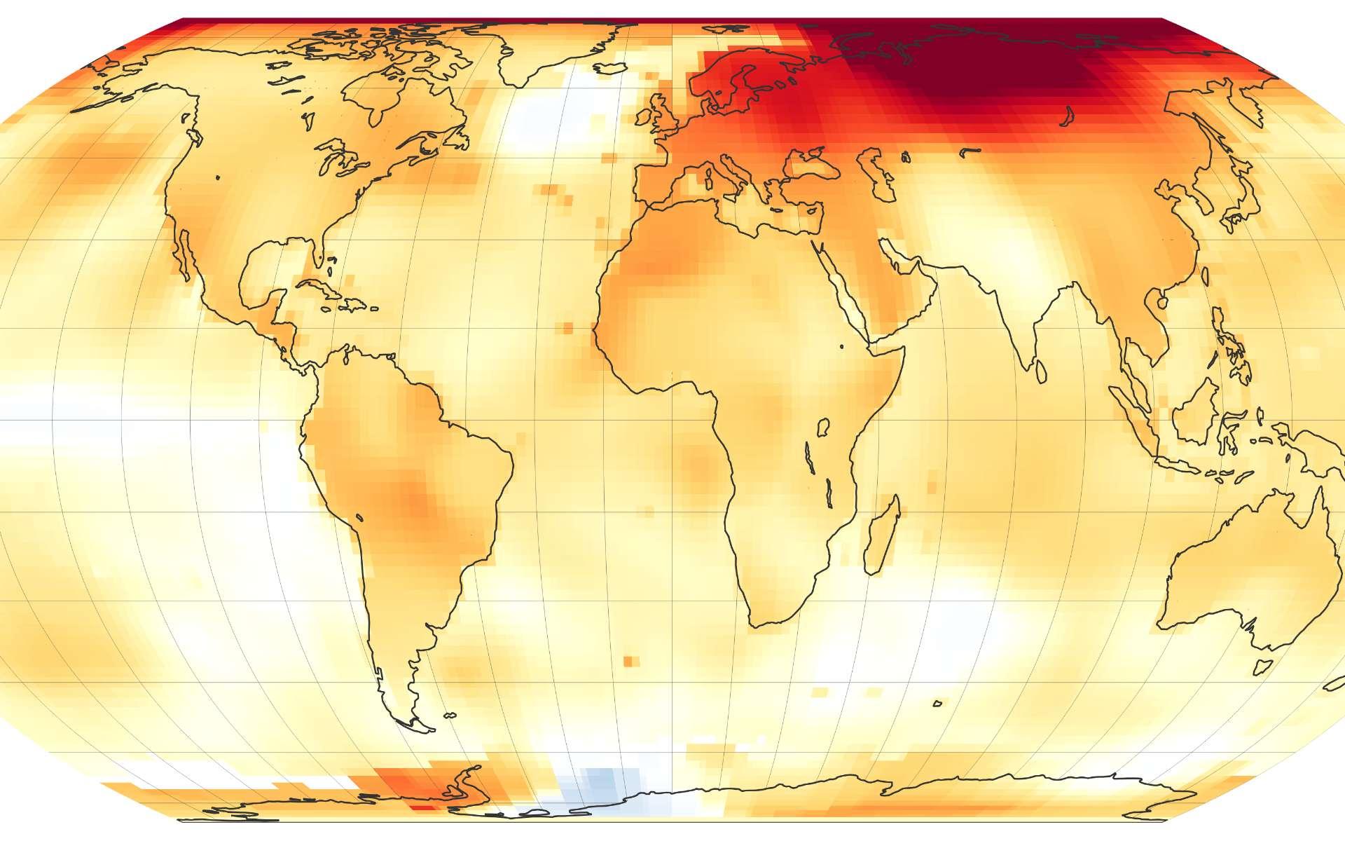 L'année 2020 achève sur la même lignée une décennie déjà très chaude. Carte des anomalies de températures dans le monde observées par la Nasa en 2020. © Nasa