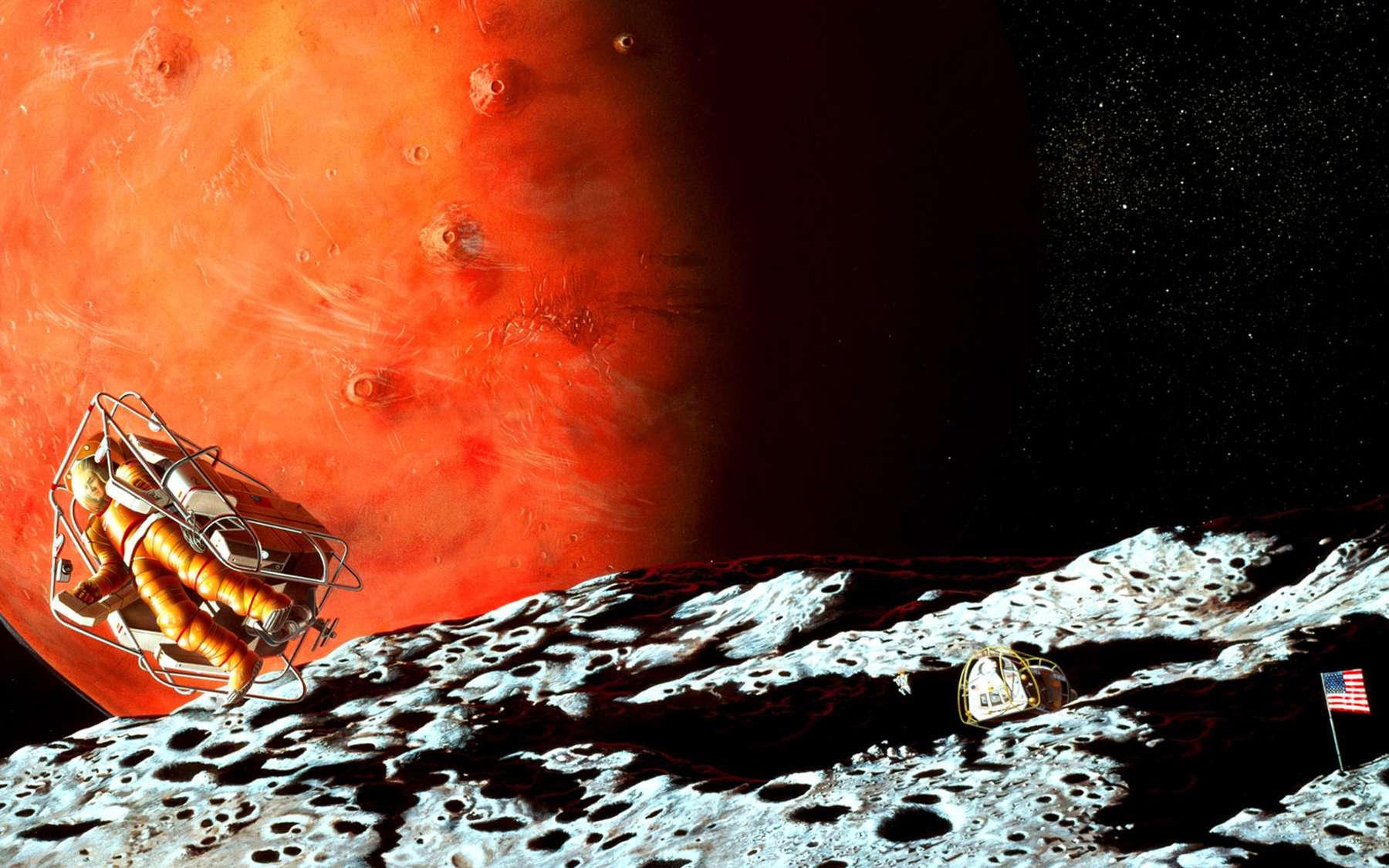 Phobos pourrait devenir un poste avancé scientifique et technique pour préparer l'exploration humaine de Mars. Crédit Nasa