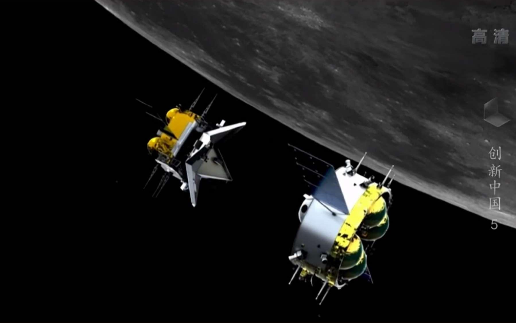 Vue d'artiste d'une des phases de la mission de retour d'échantillons lunaires Chang'e 5. © CCTV, Framegrab