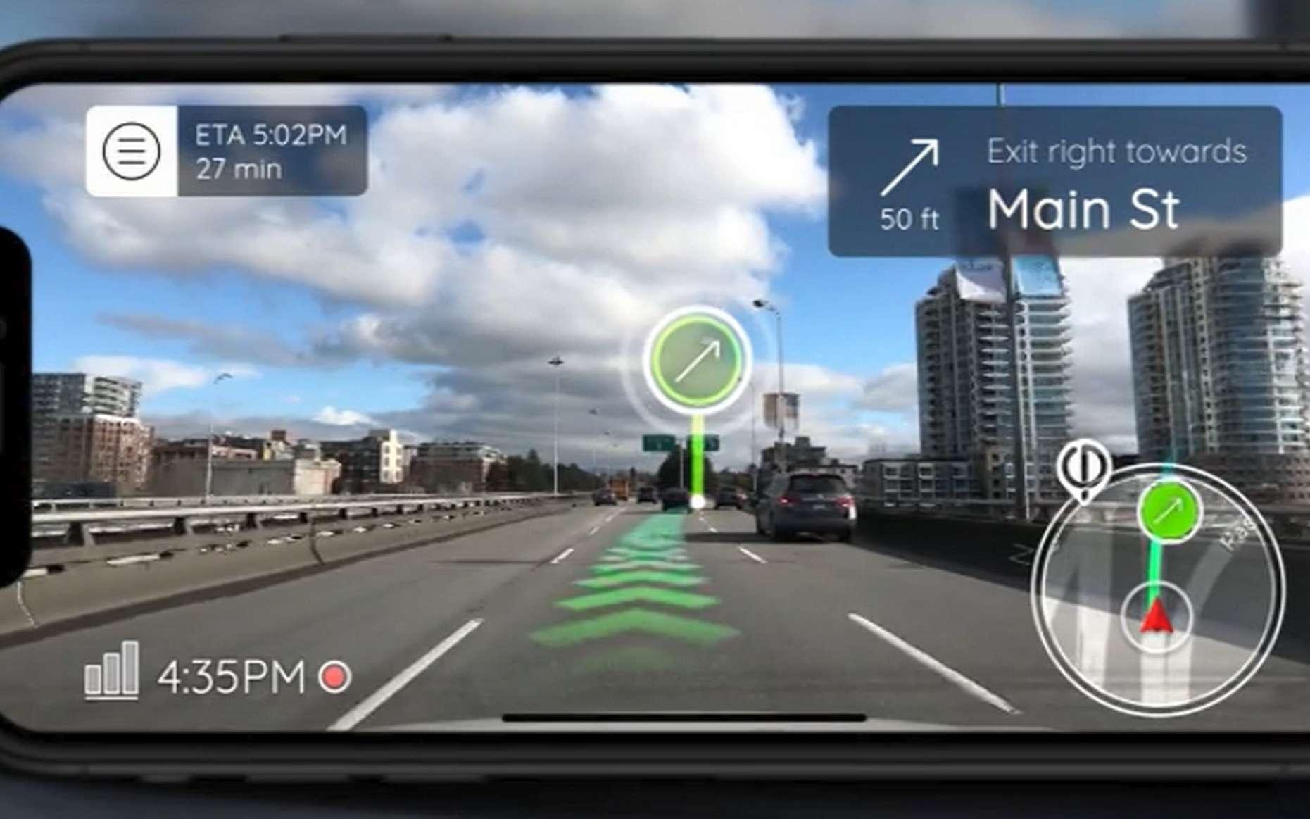 Un aperçu de l'application GPS en réalité augmentée Phiar. © Phiar