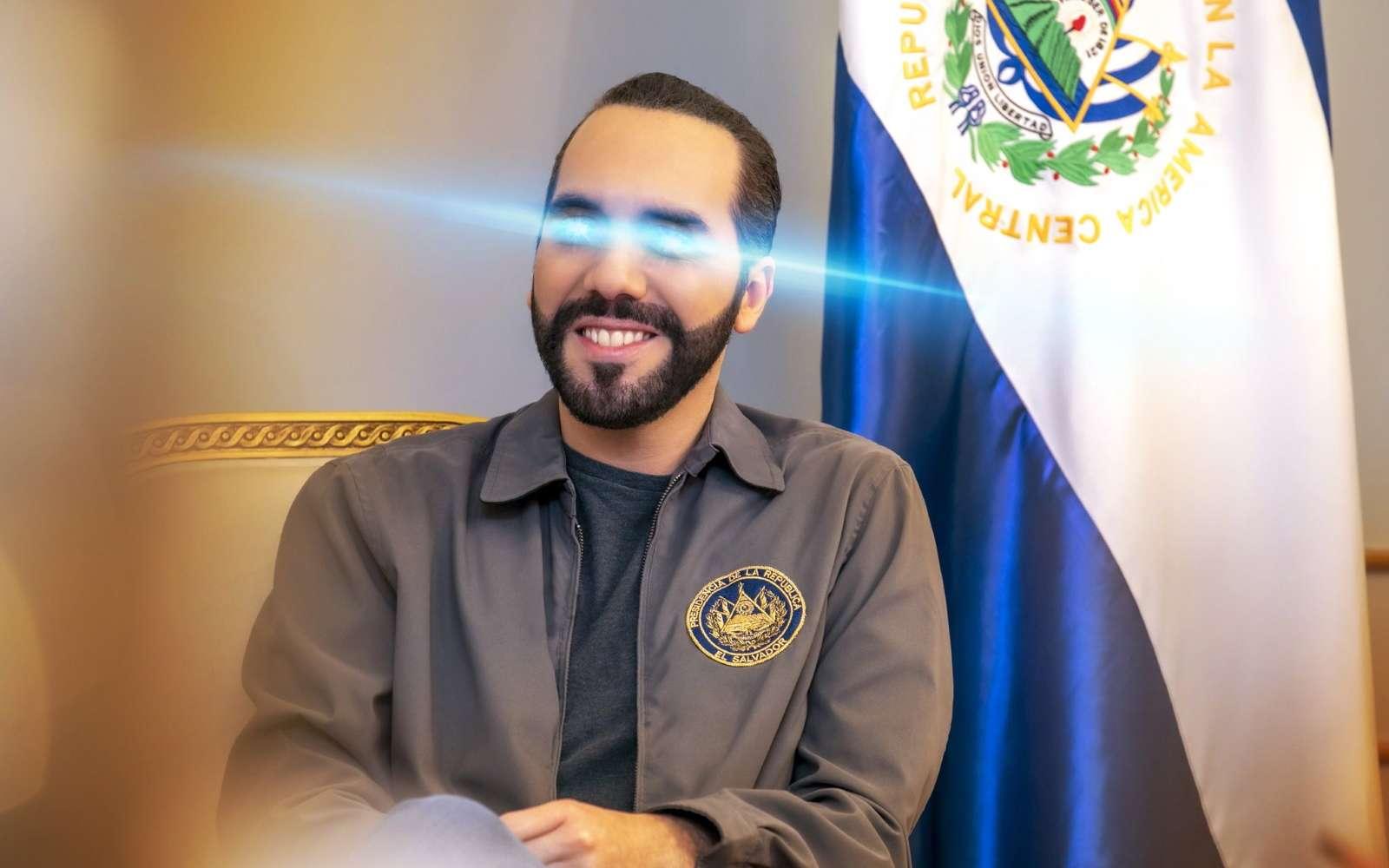 Un rayon bleu au niveau des yeux sur la photo de profil Twitter du président salvatorien pour symboliser l'adoption du Bitcoin comme monnaie légale. © Twitter