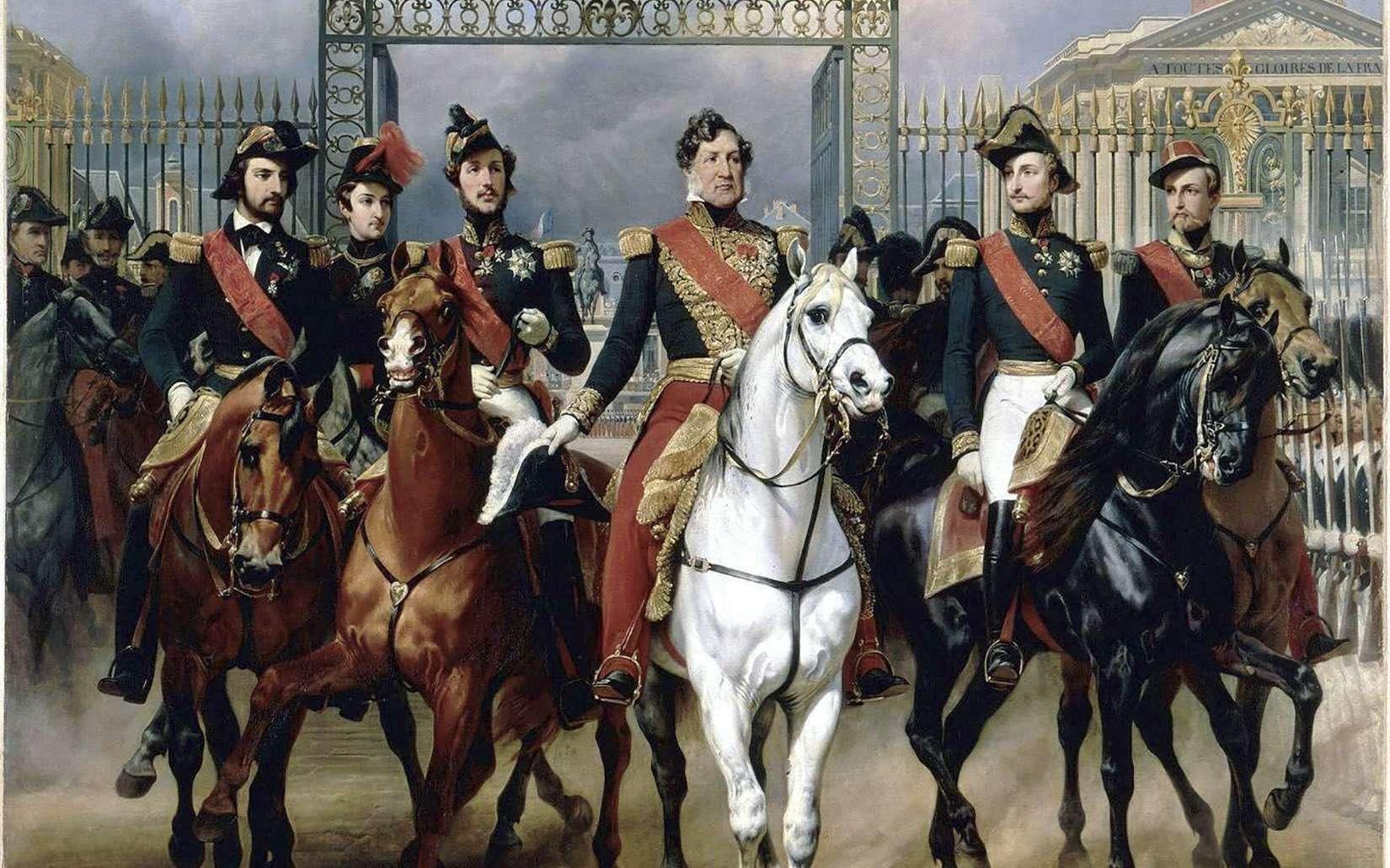 Louis-Philippe, accompagné de ses fils, sortant à cheval du château de Versailles. Peinture d'Horace Vernet, exposée au musée national du Château de Versailles. © Wikimedia Commons, DP