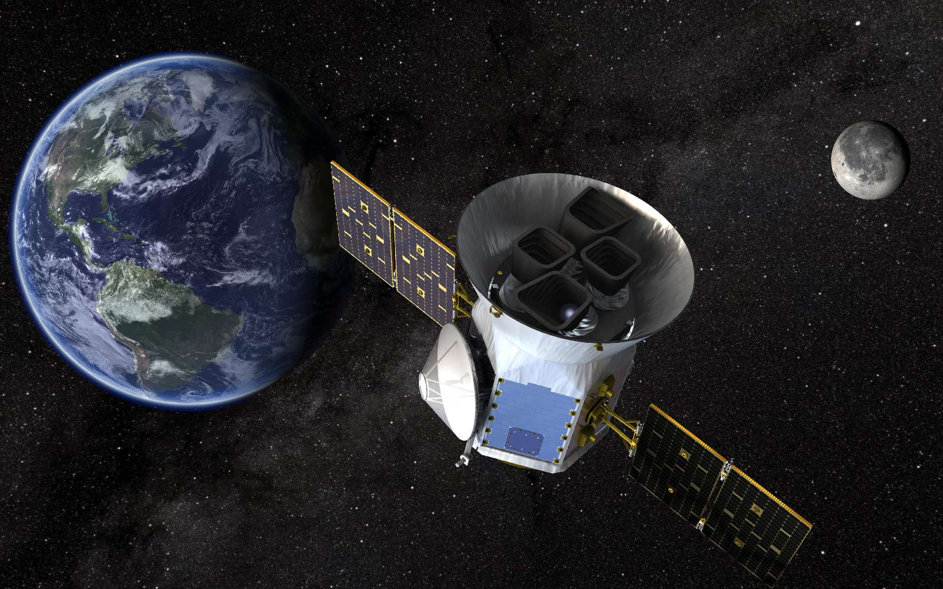 Illustration du satellite de recensement d'exoplanètes en transit Tess. © NASA's Goddard Space Flight Center