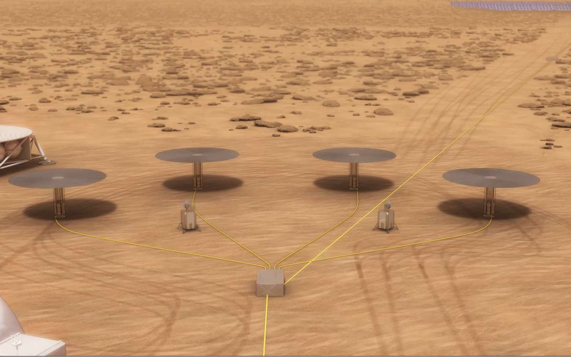 Illustration d'une installation sur Mars équipée de quatre réacteurs nucléaires du système Kilopower. © Nasa, Kilopower