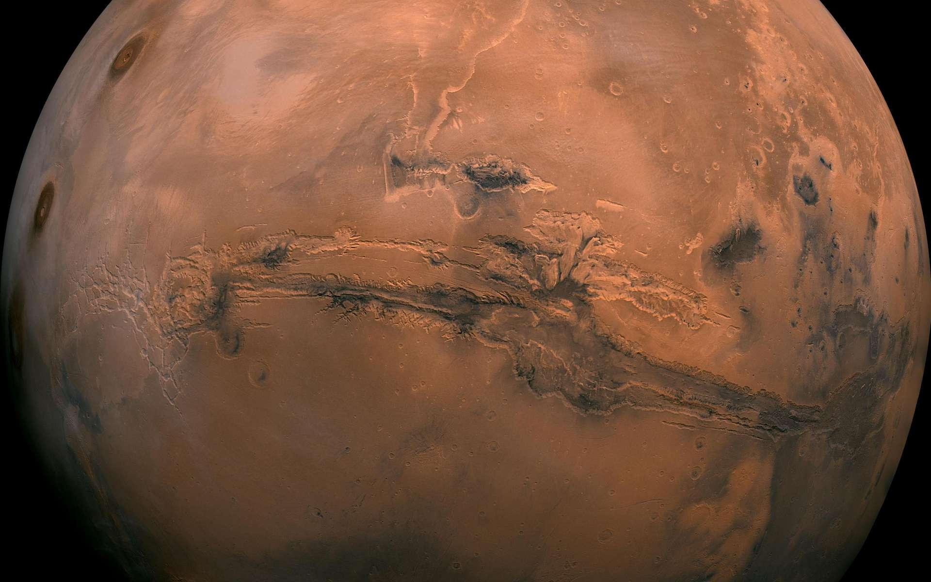 Une vue de la surface de Mars avec son fameux canyon, Valles Marineris. © Nasa-Caltech