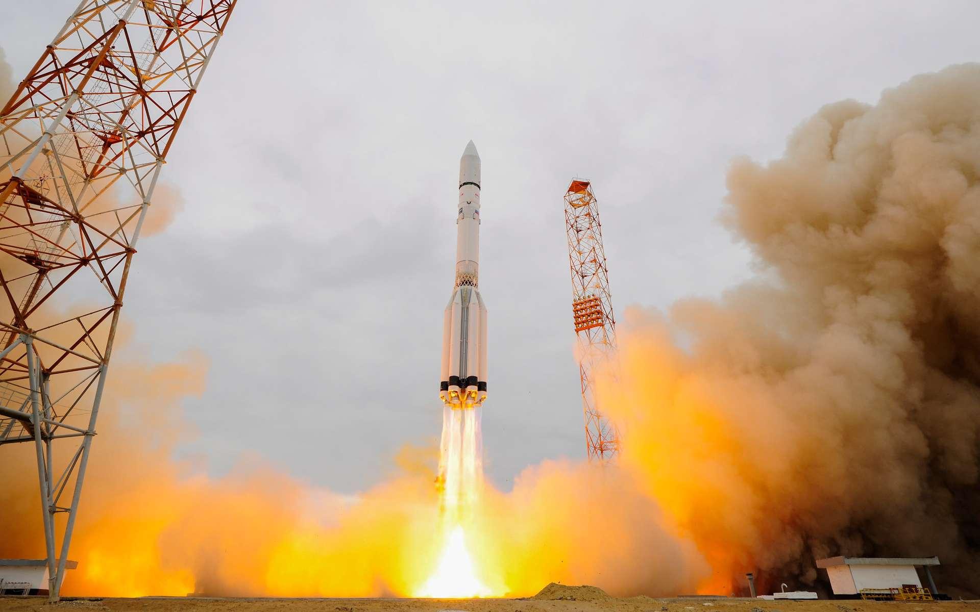 Lundi, à 10 h 31, la sonde de l'Agence spatiale européenne (Esa) a décollé. Dix heures et plusieurs tours autour de la Terre plus tard, elle s'est séparée du lanceur Proton-M. © Esa, S. Corvaja