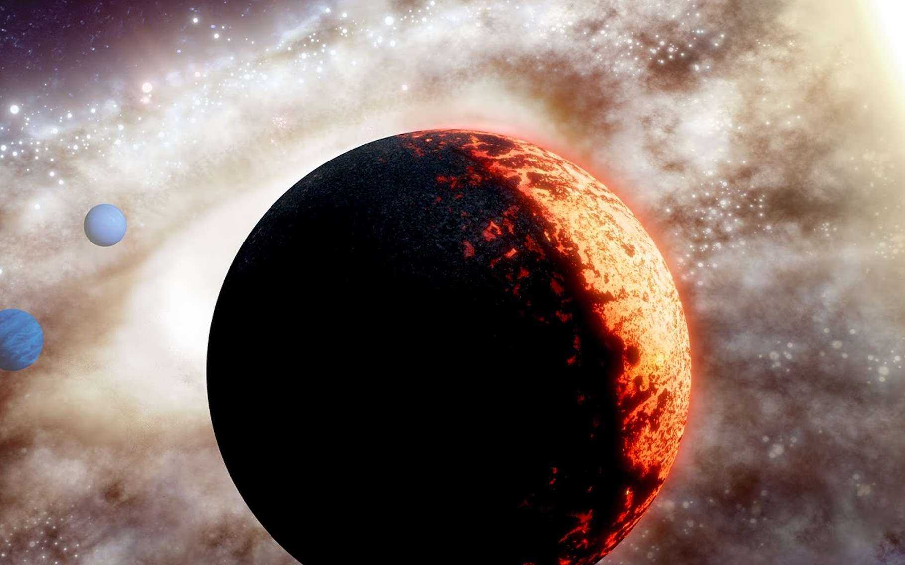 Avec TOI-561b — ici en vue d'artiste, accompagnée des deux planètes géantes qui composent aussi son système —, les astronomes ont désormais la preuve que des planètes rocheuses ont pu se former très tôt dans l'histoire de l'Univers. © Adam Makarenko, W. M. Keck Observatory
