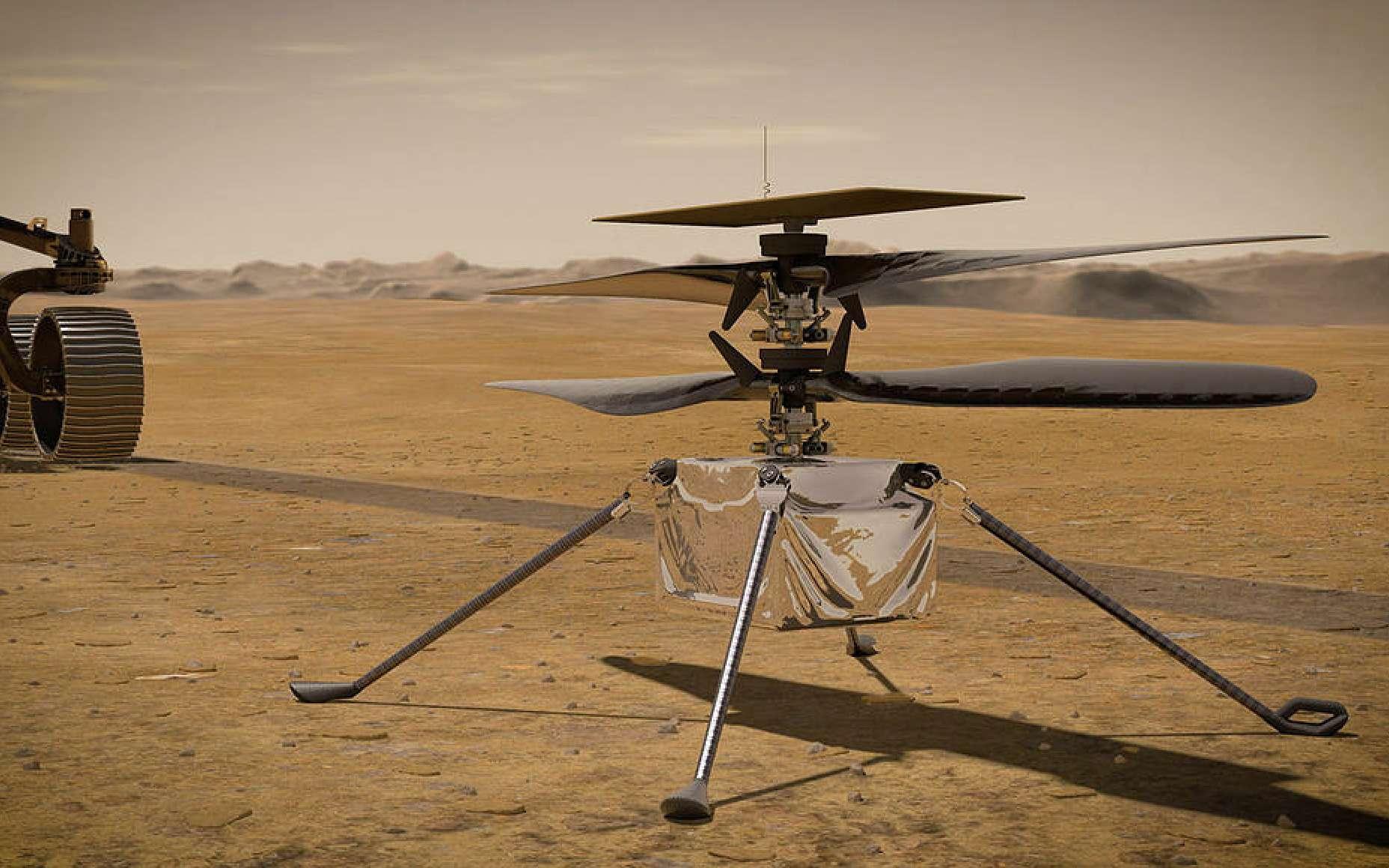 Vue d'artiste d'Ingenuity, le premier hélicoptère envoyé sur Mars. © Nasa, JPL-Caltech