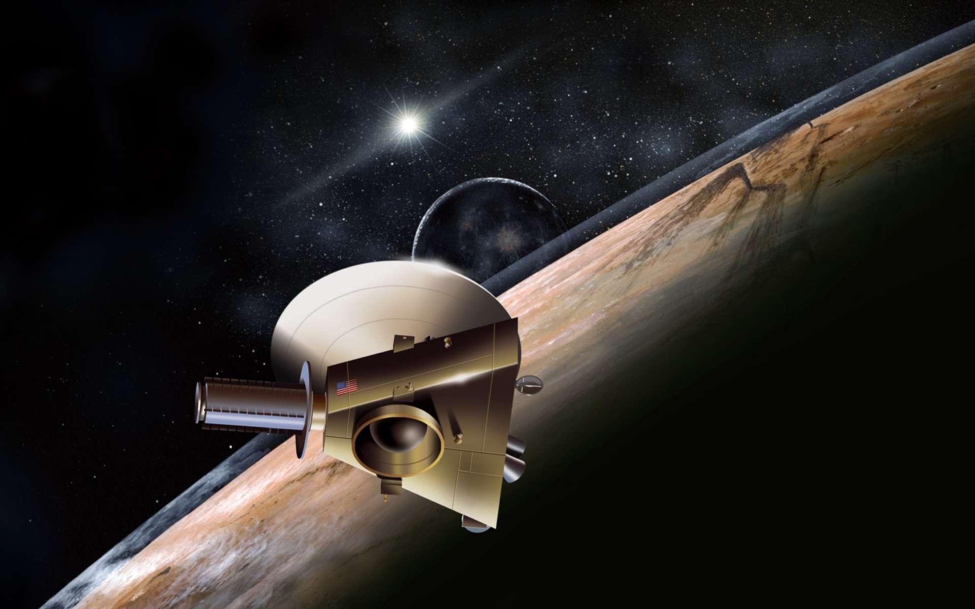 Une vue d'artiste d'un événement qui surviendra le 14 juillet 2015 : la sonde New Horizons rase la planète naine Pluton. Elle observe son atmosphère ténue, produite par le dégazage de ses glaces, et son plus gros satellite, Charon. Elle travaille en mode automatique, accumulant les données qu'elle expédiera ensuite vers la Terre, à près de 5 milliards de kilomètres. À cette distance, le débit est très faible et il faudra deux mois pour tout télécharger © Nasa
